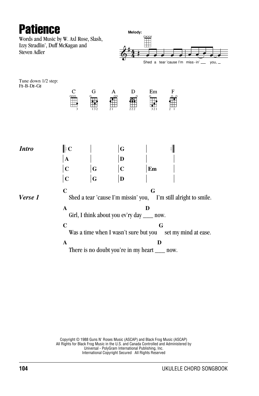 Tablature guitare Patience de Guns N' Roses - Ukulele (strumming patterns)