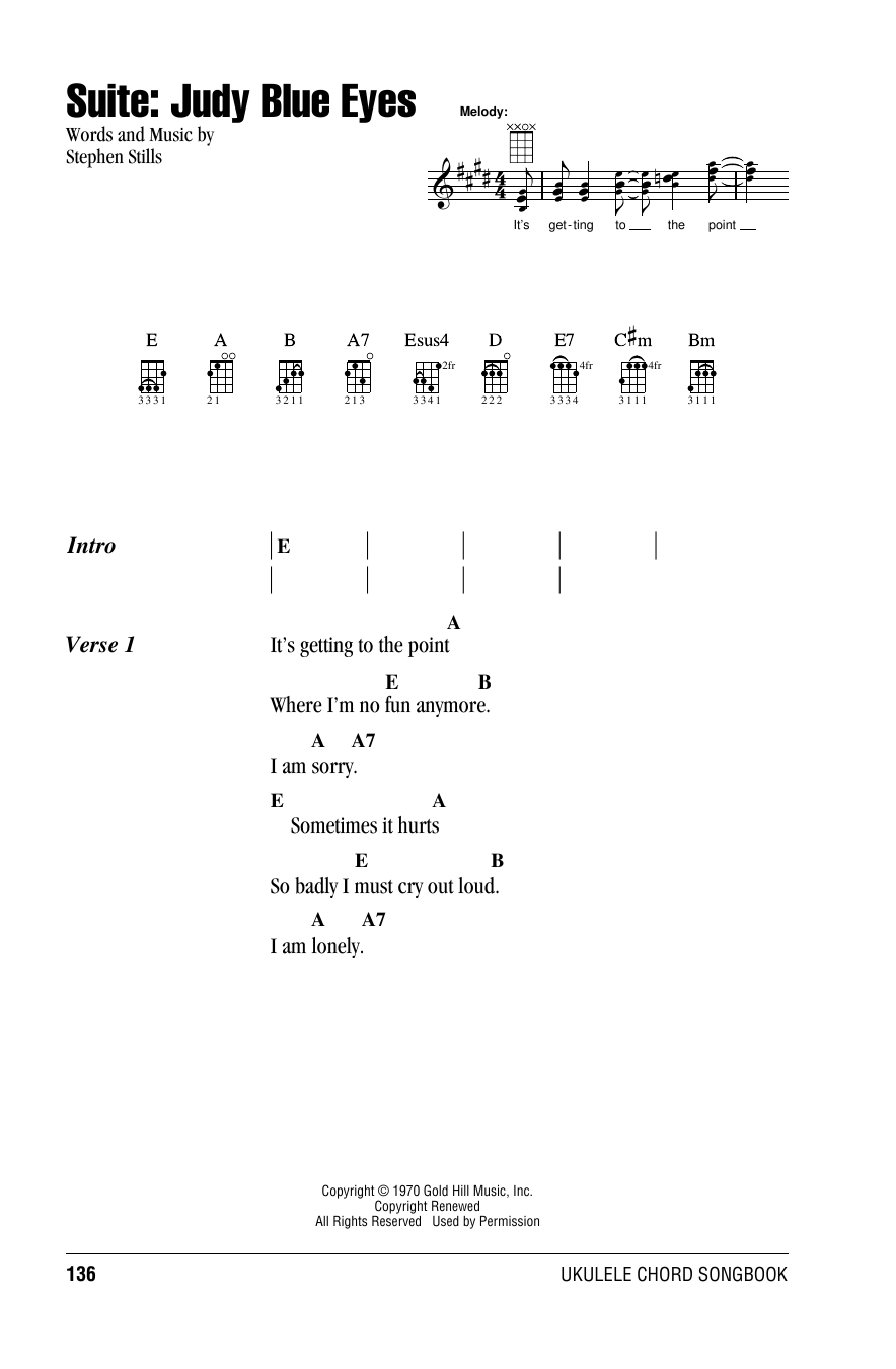 Suite: Judy Blue Eyes (Ukulele Chords/Lyrics)