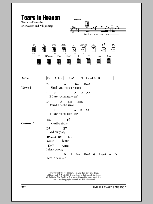 Tablature guitare Tears In Heaven de Eric Clapton - Ukulele (strumming patterns)