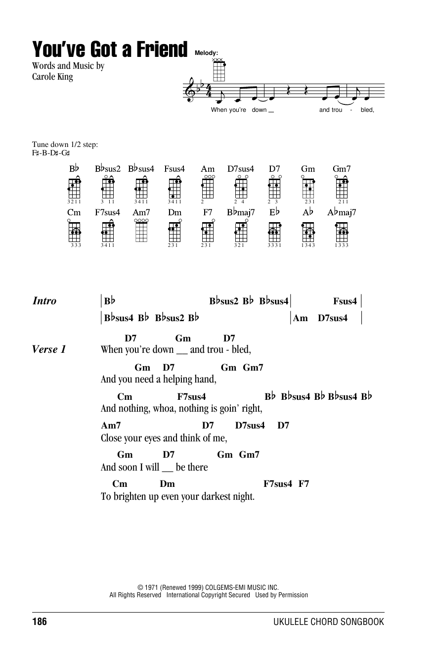 Tablature guitare You've Got A Friend de James Taylor - Ukulele (strumming patterns)