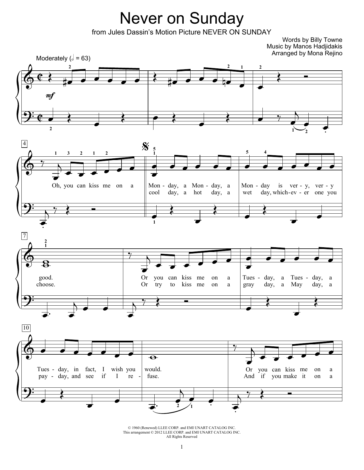 Never On Sunday Sheet Music