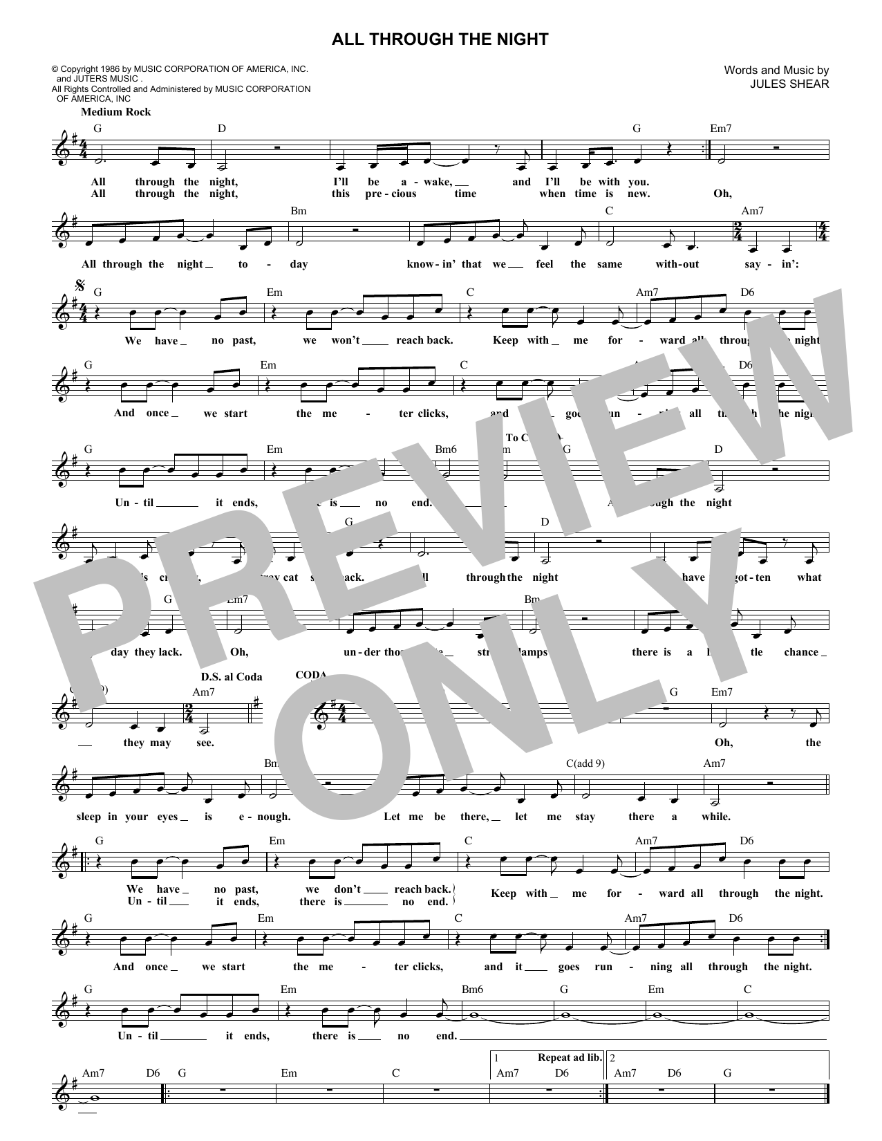 All Through The Night (Lead Sheet / Fake Book)