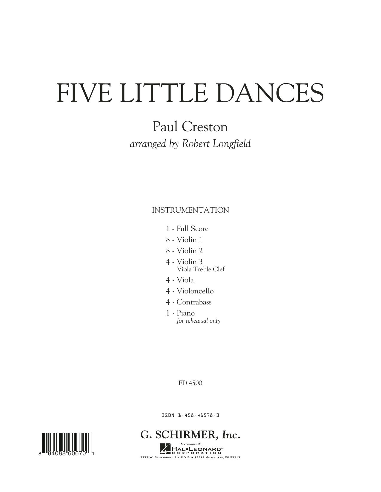 Five Little Dances (arr. Paul Longfield) - Full Score (Orchestra)