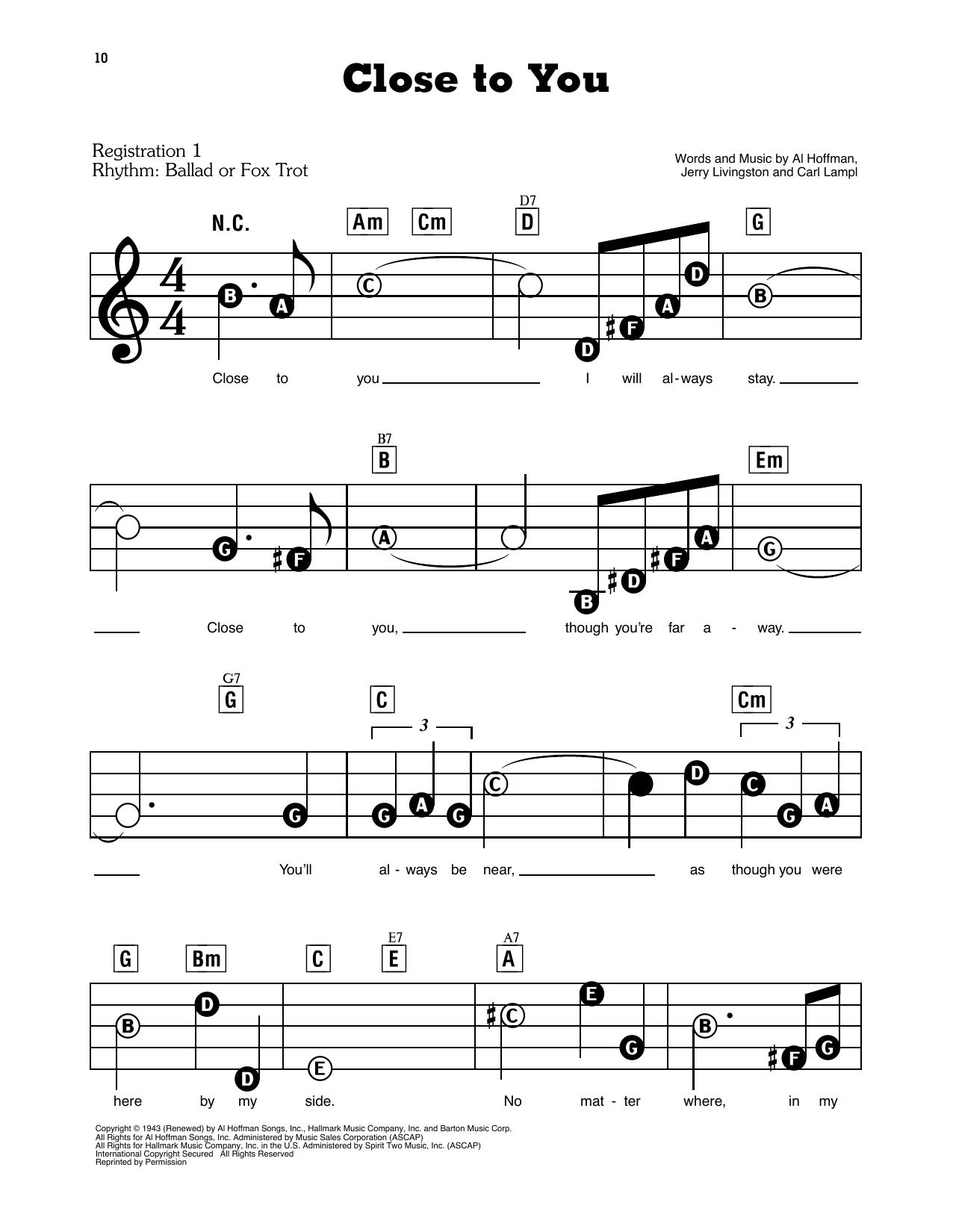 Close To You Sheet Music