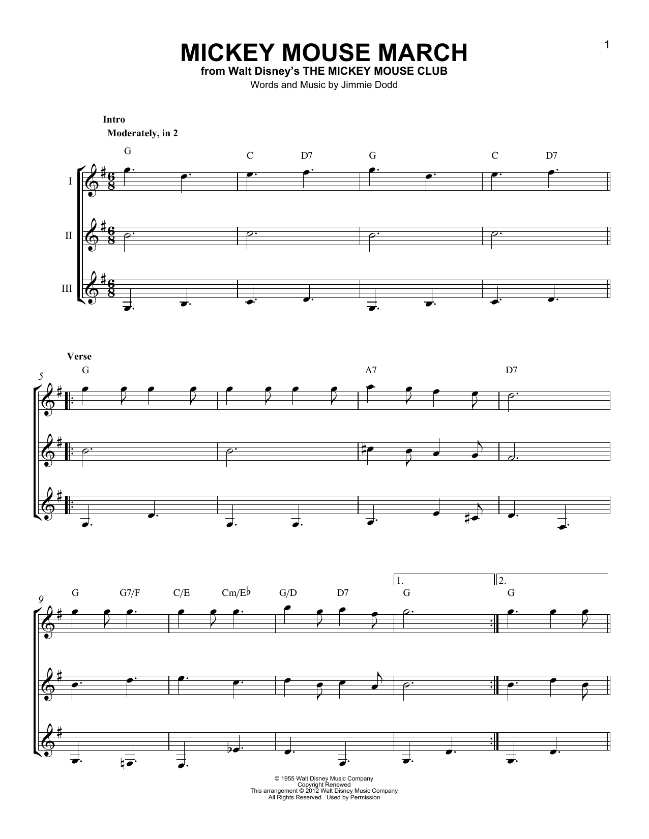 Mickey Mouse March Sheet Music