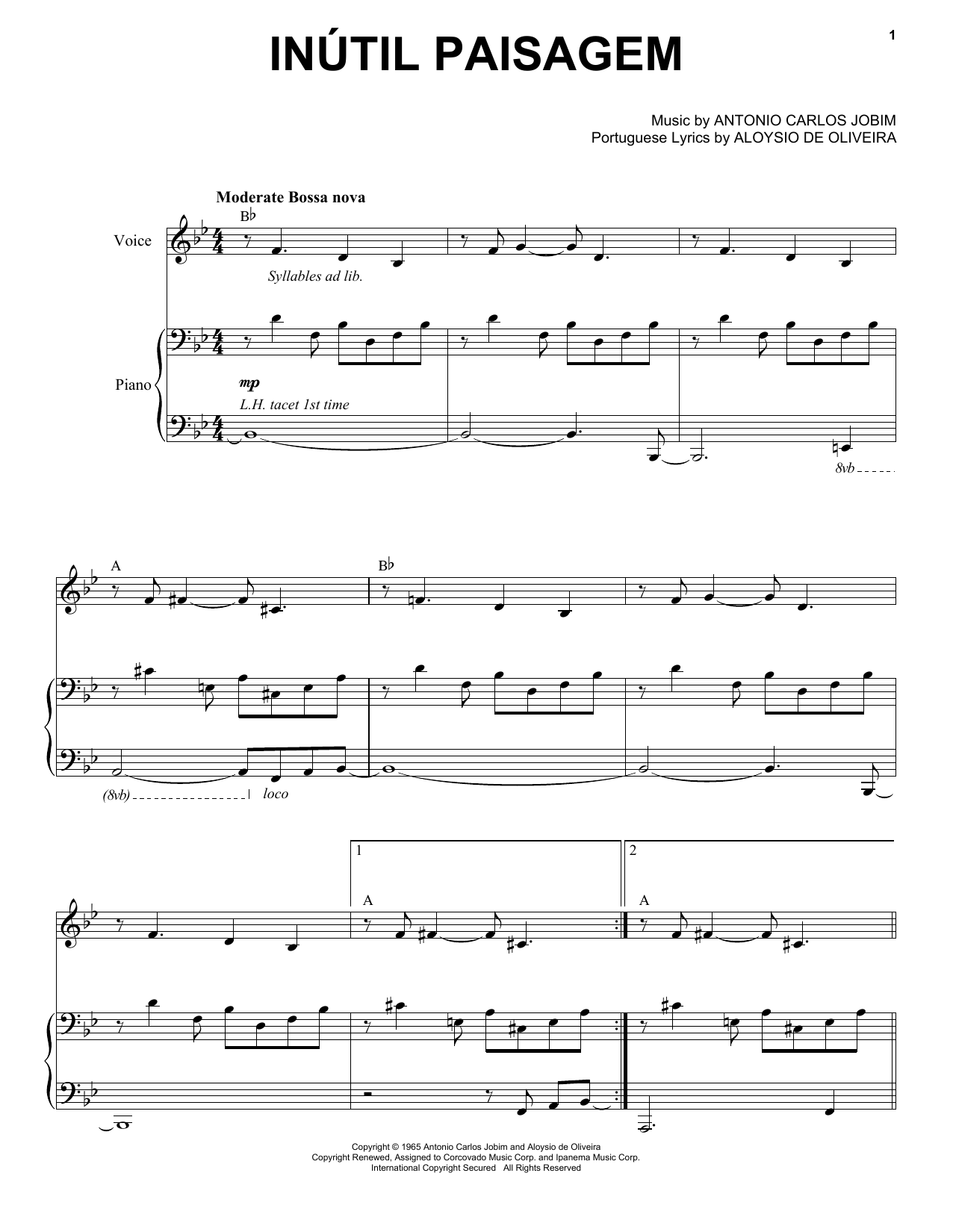 Inutil Paisagem Sheet Music