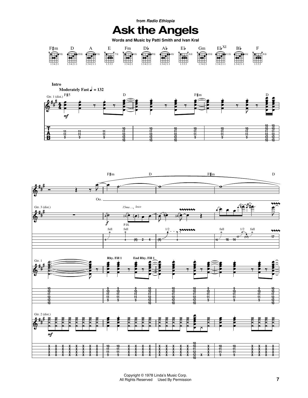 Ask The Angels (Guitar Tab)