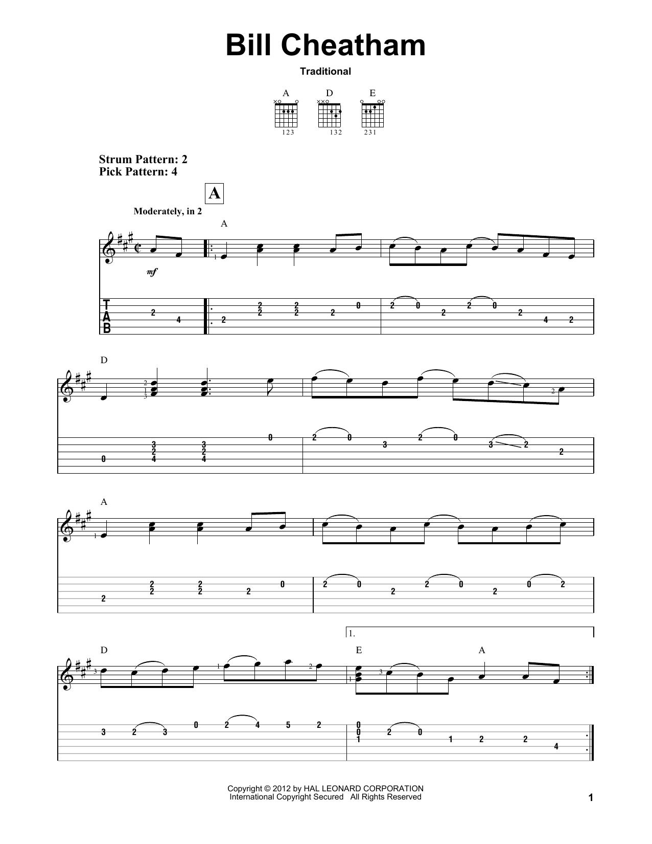 Bill Cheatham (Easy Guitar Tab)