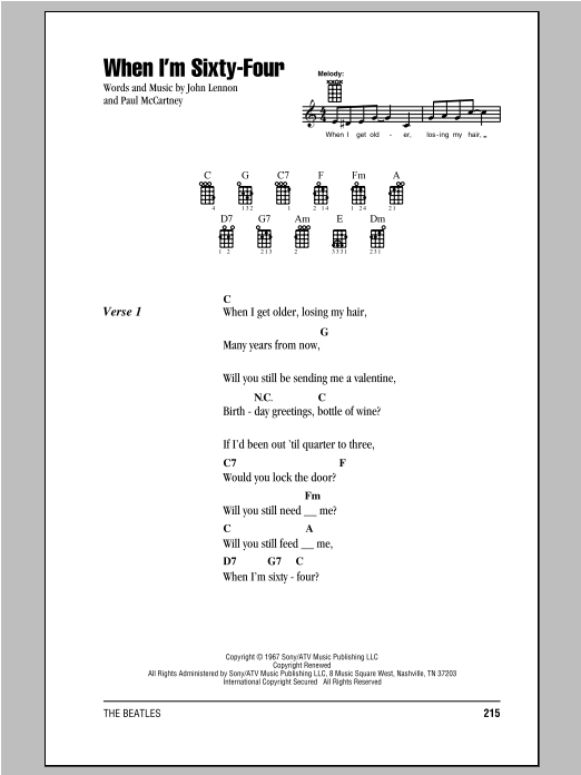 When I'm Sixty-Four (Ukulele Chords/Lyrics)