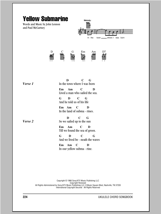 Tablature guitare Yellow Submarine de The Beatles - Ukulele (strumming patterns)
