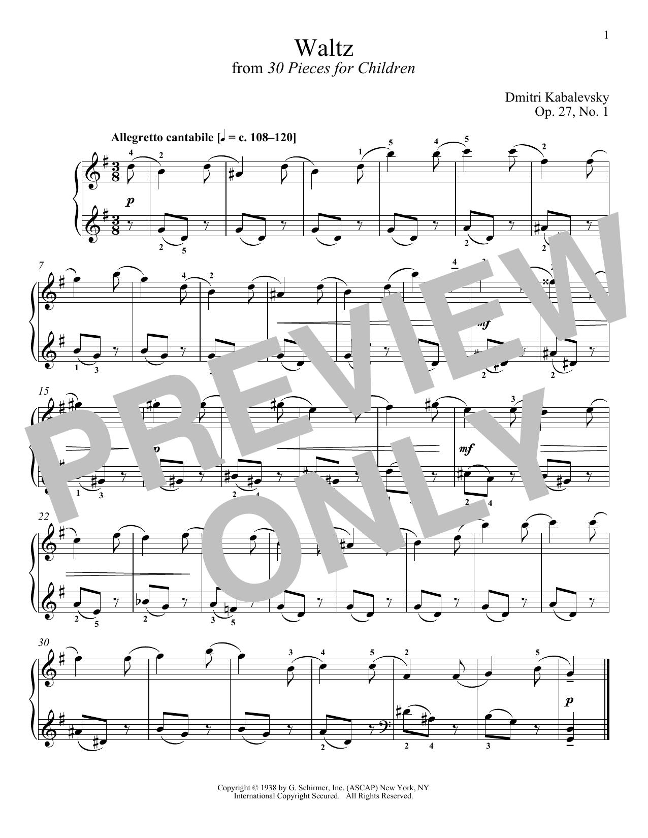 Waltz, Op. 27, No. 1 (Piano Solo)