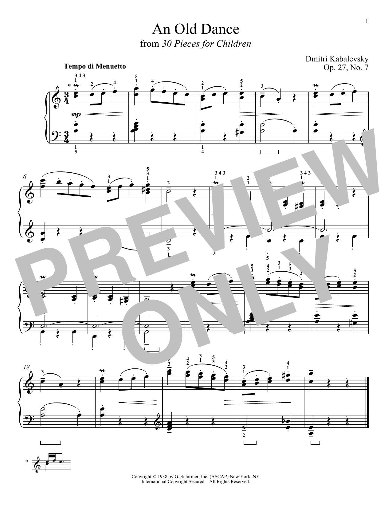An Old Dance, Op. 27, No. 7 Sheet Music