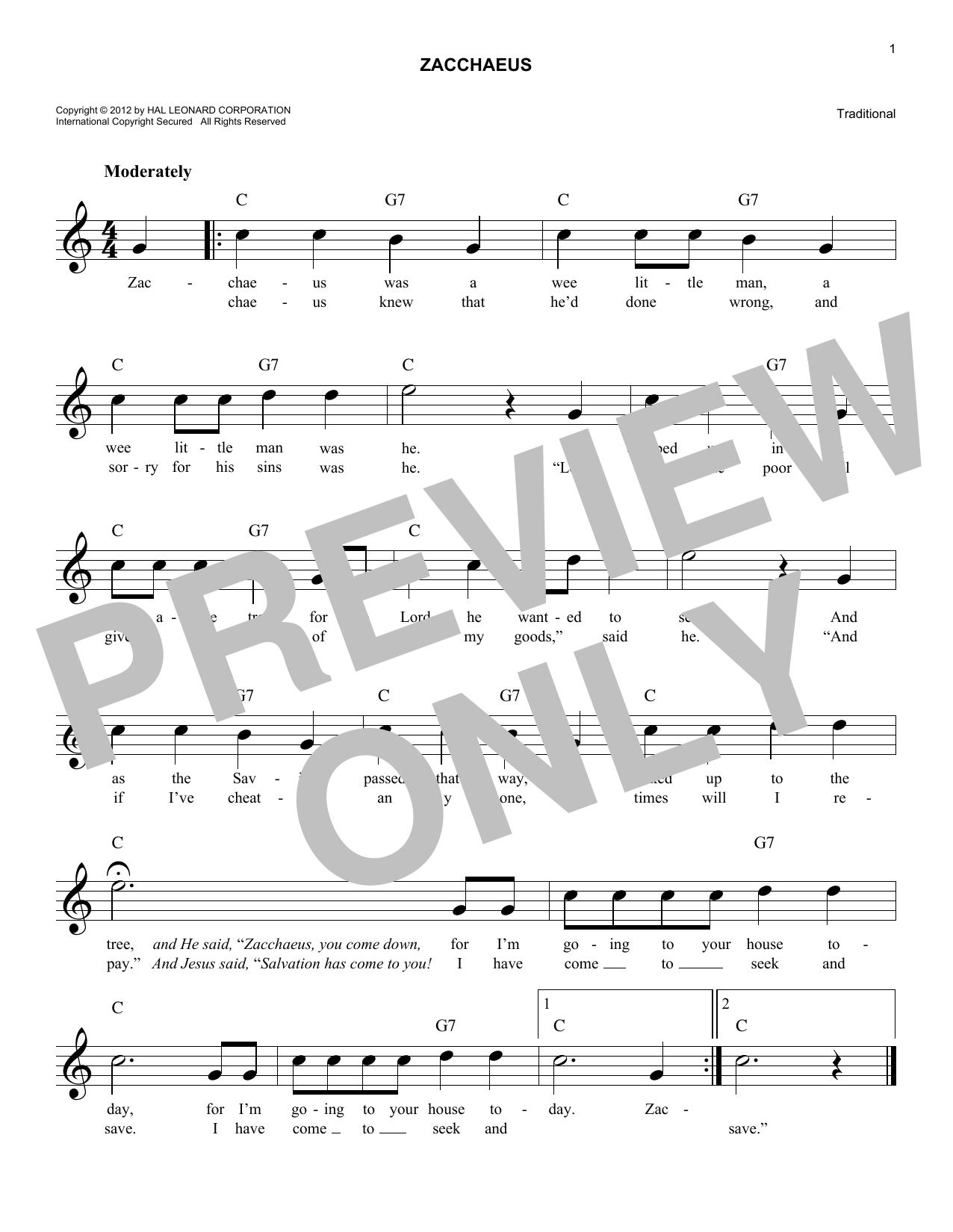 Zacchaeus Sheet Music