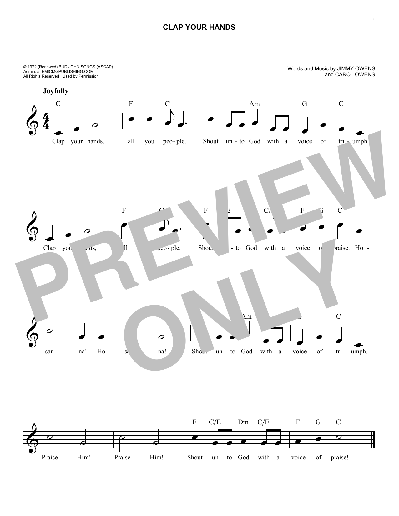 Clap Your Hands (Lead Sheet / Fake Book)