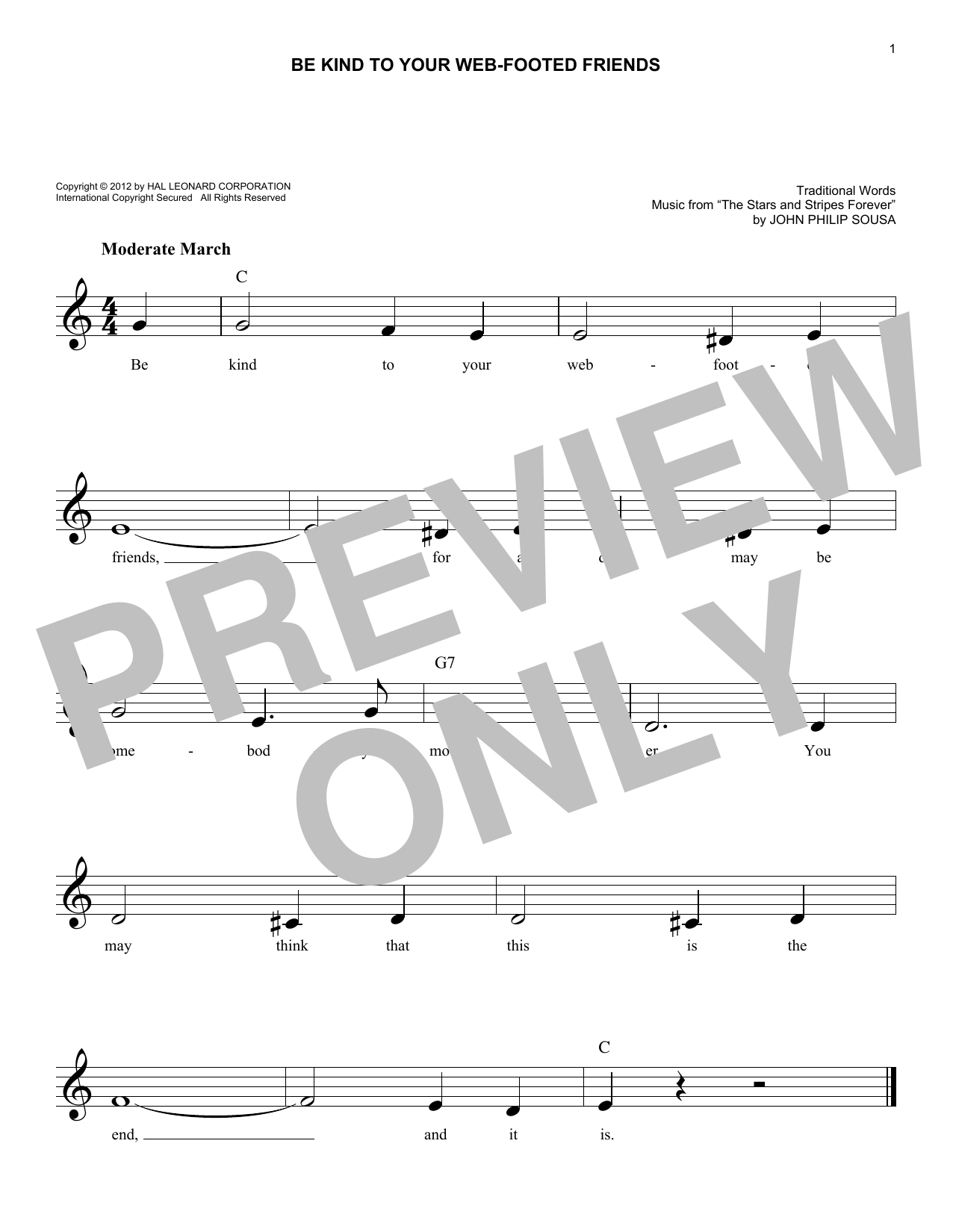 Be Kind To Your Web-Footed Friends Sheet Music