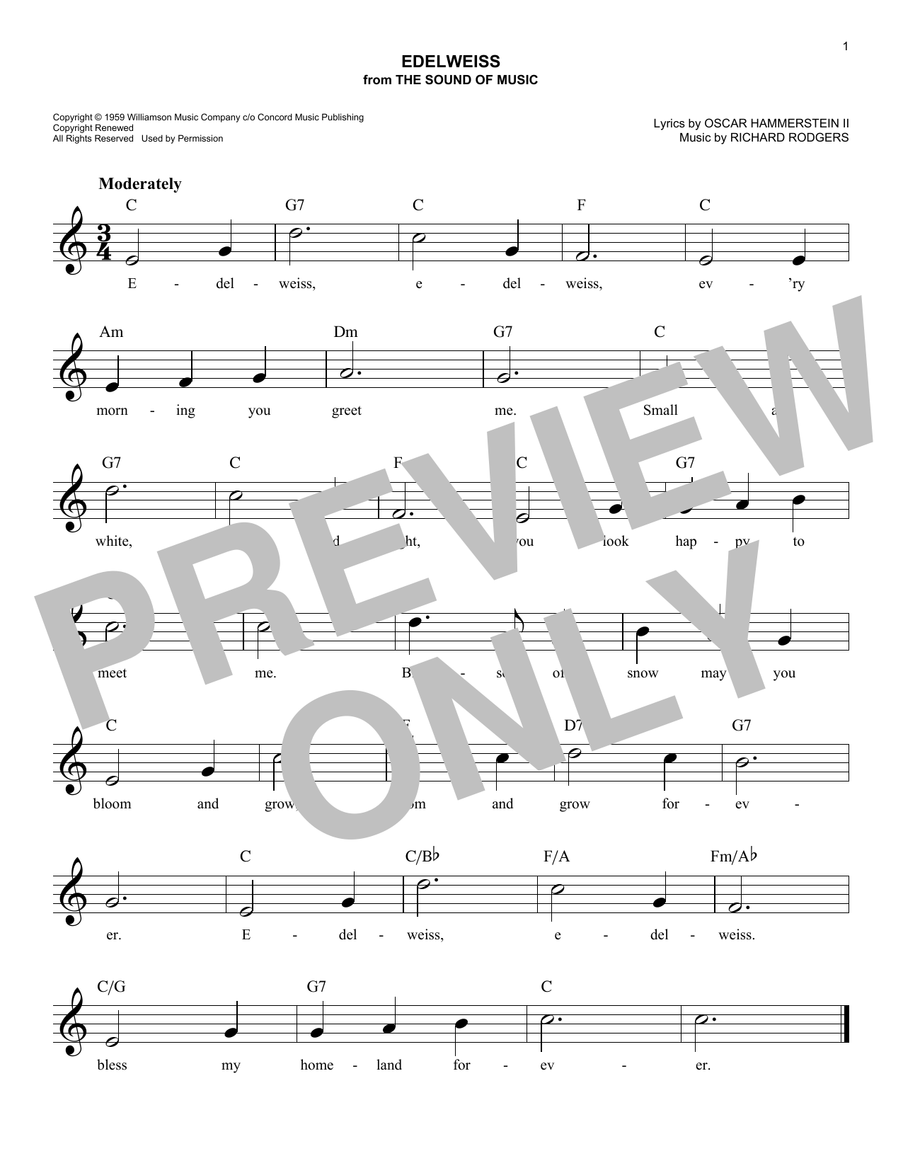 Edelweiss Chords By Rodgers Hammerstein Melody Line Lyrics