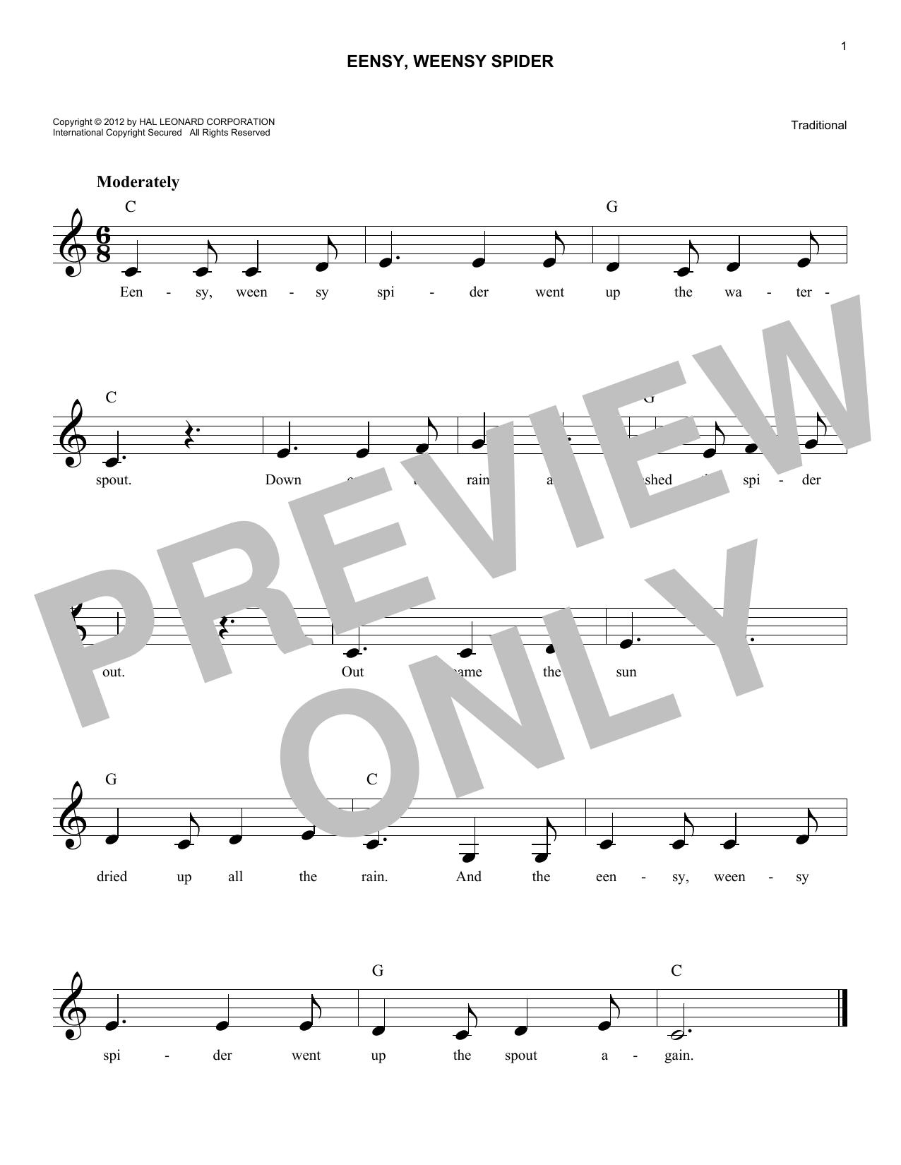 Eensy Weensy Spider (Lead Sheet / Fake Book)