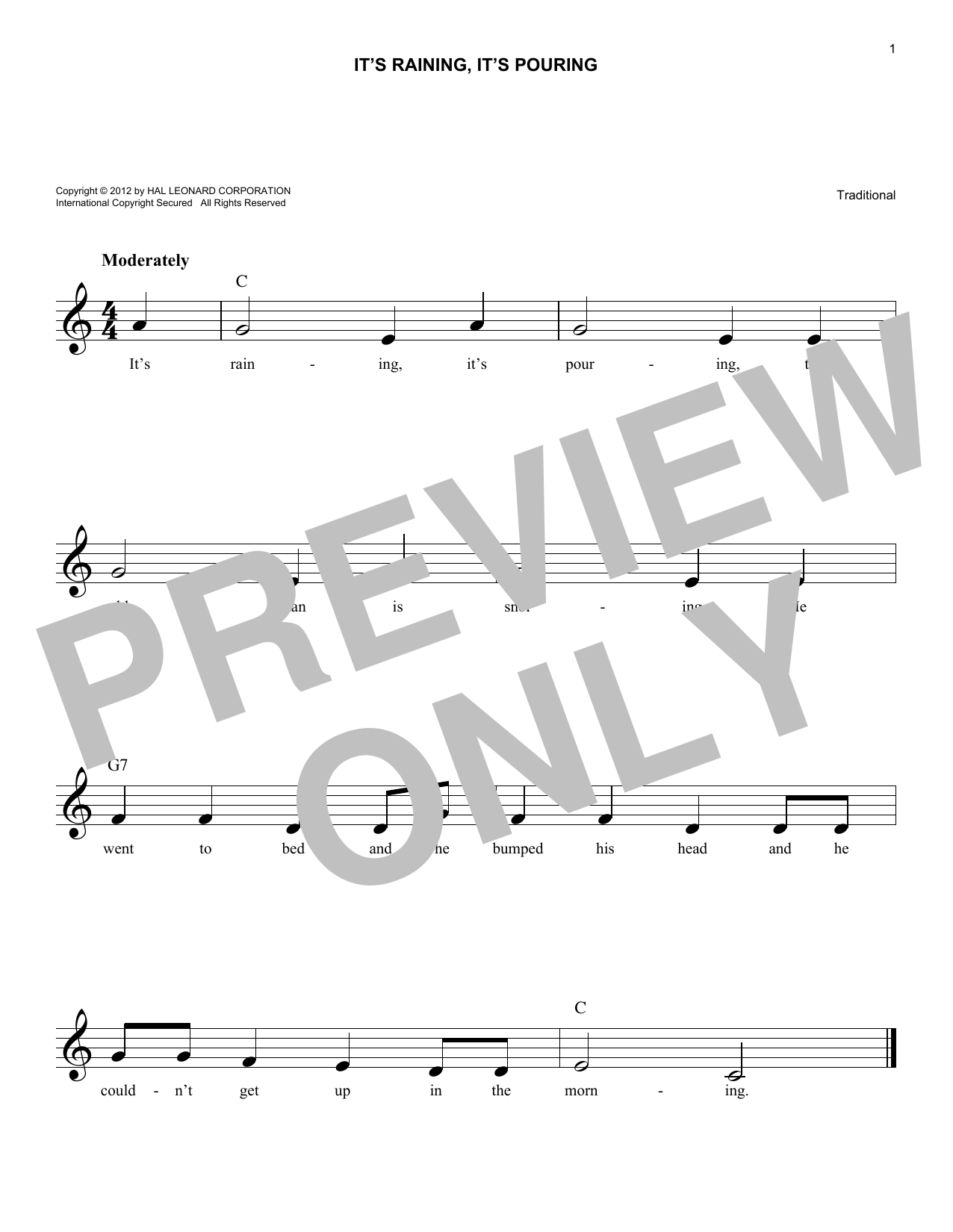 It's Raining, It's Pouring (Lead Sheet / Fake Book)