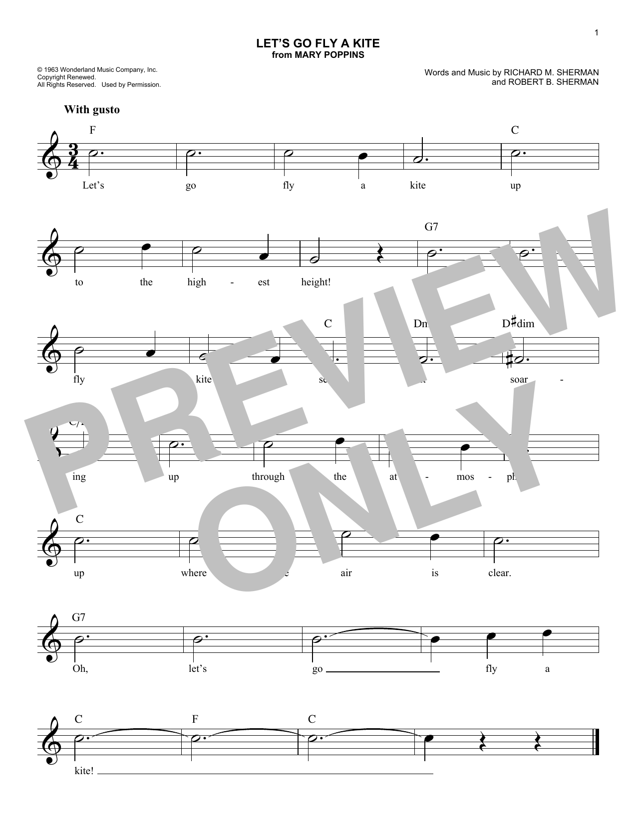 Let's Go Fly A Kite (Lead Sheet / Fake Book)