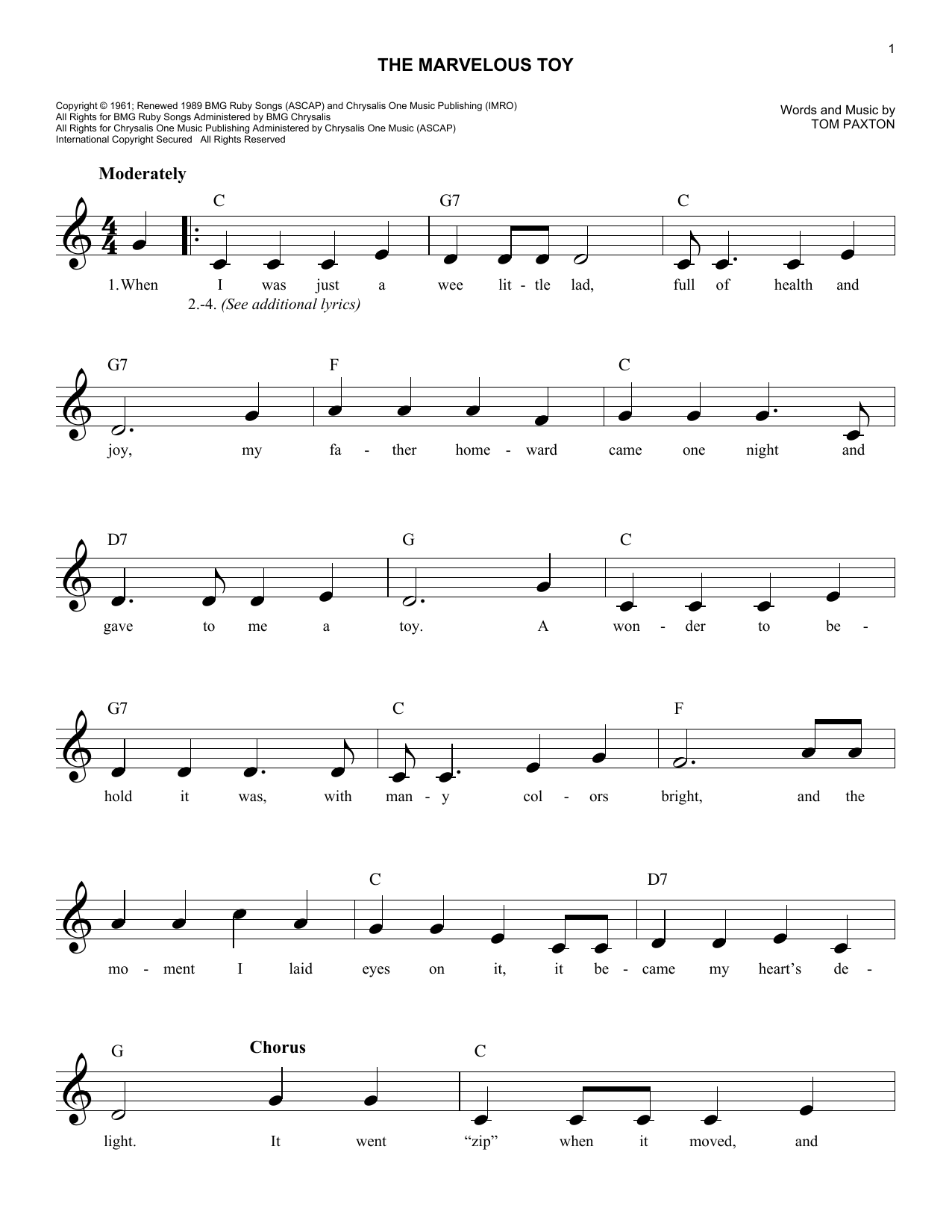 The Marvelous Toy (Lead Sheet / Fake Book)