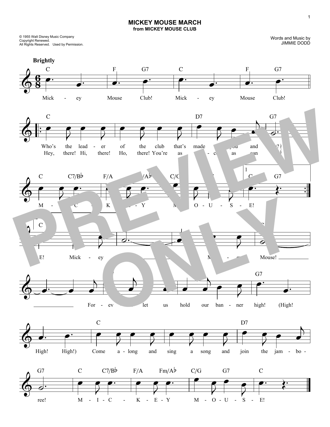 Mickey Mouse March (Lead Sheet / Fake Book)