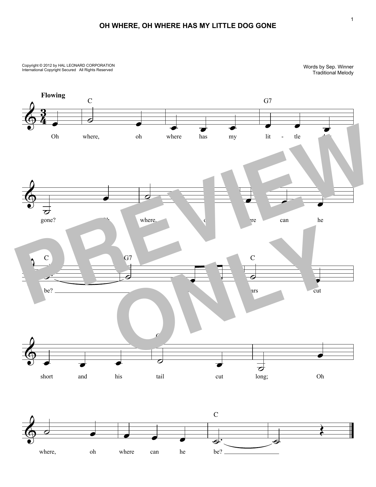 Oh Where, Oh Where Has My Little Dog Gone (Lead Sheet / Fake Book)
