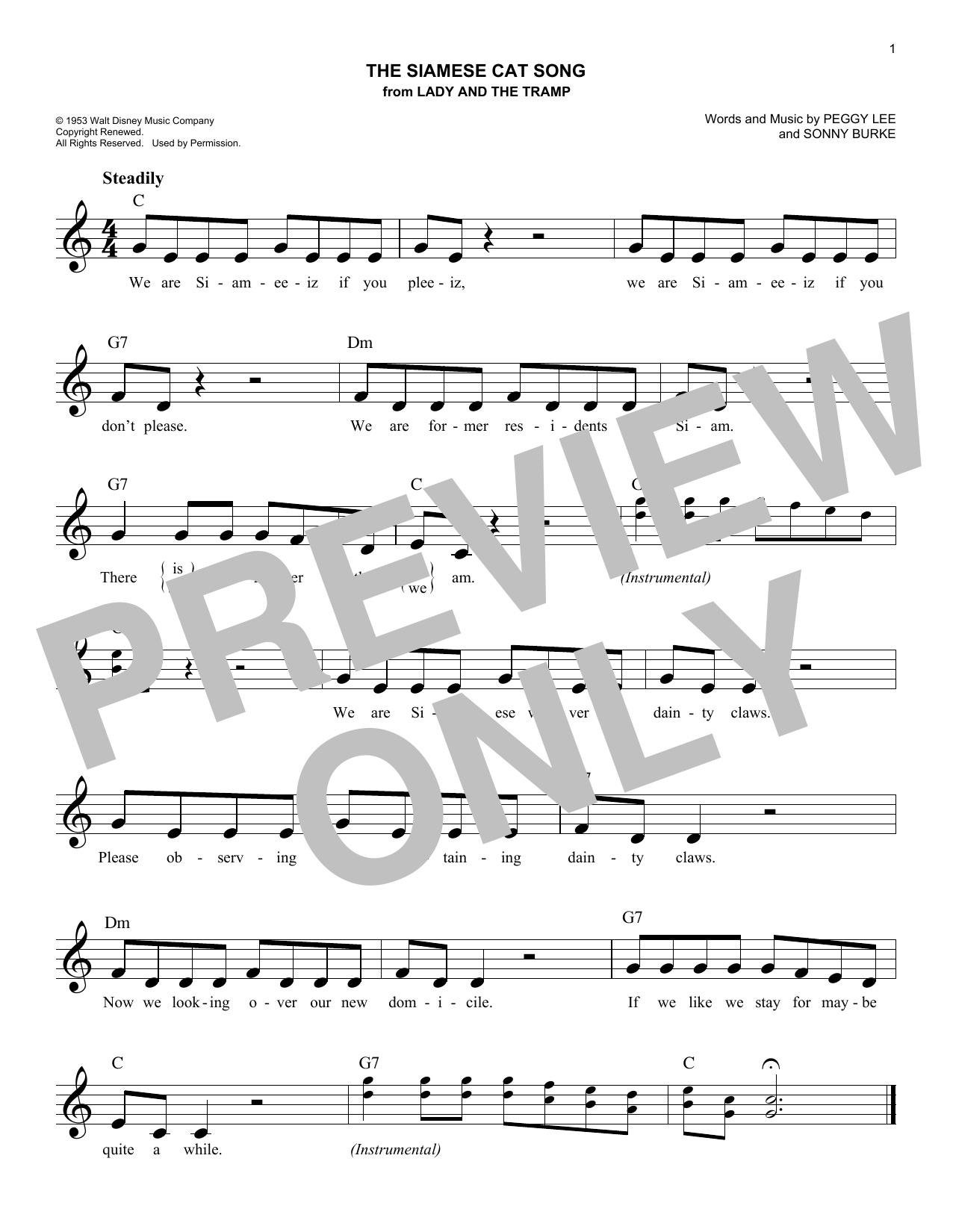 The Siamese Cat Song (from Lady And The Tramp) (Lead Sheet / Fake Book)