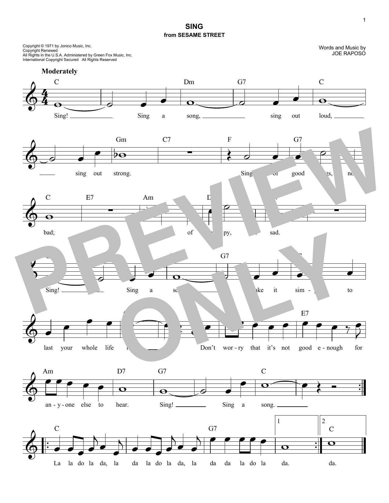 Sing (Lead Sheet / Fake Book)