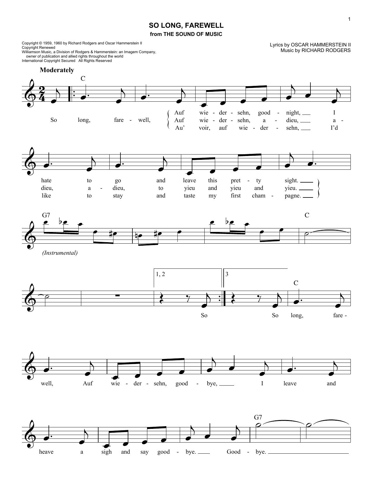 So Long, Farewell Sheet Music