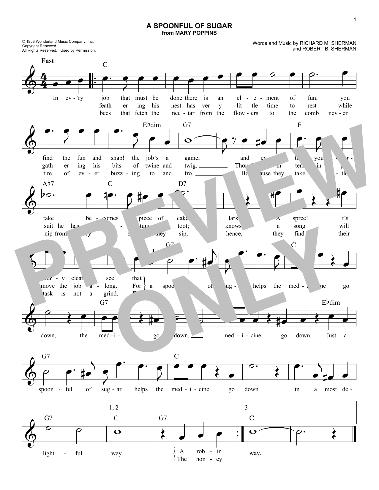A Spoonful Of Sugar (from Mary Poppins) (Lead Sheet / Fake Book)