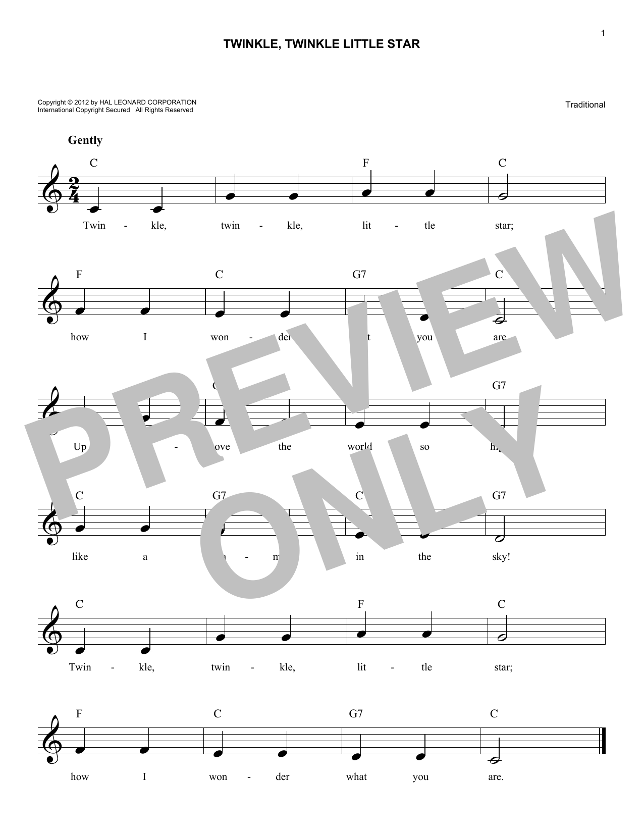 Twinkle, Twinkle Little Star (Lead Sheet / Fake Book)