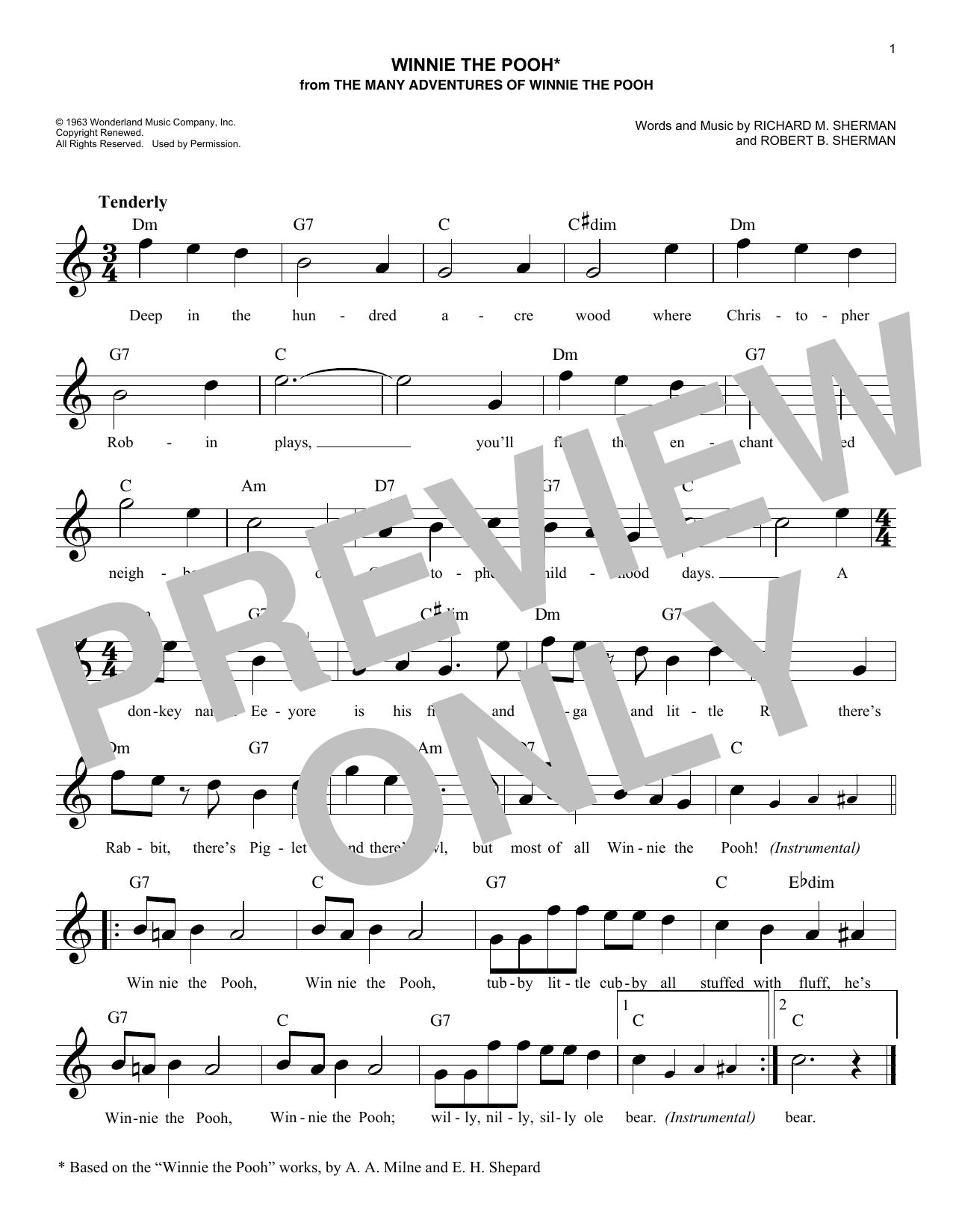 Winnie The Pooh (Melody Line, Lyrics & Chords)