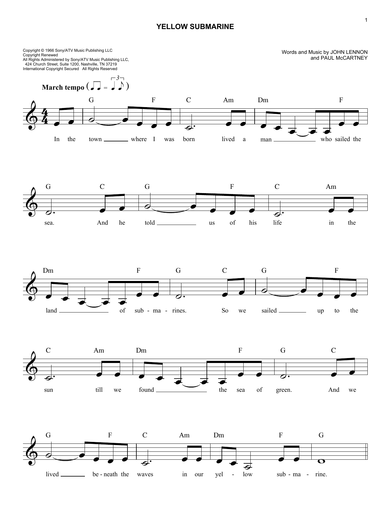 Yellow submarine chords by the beatles melody line lyrics the beatles yellow submarine melody line lyrics chords hexwebz Images