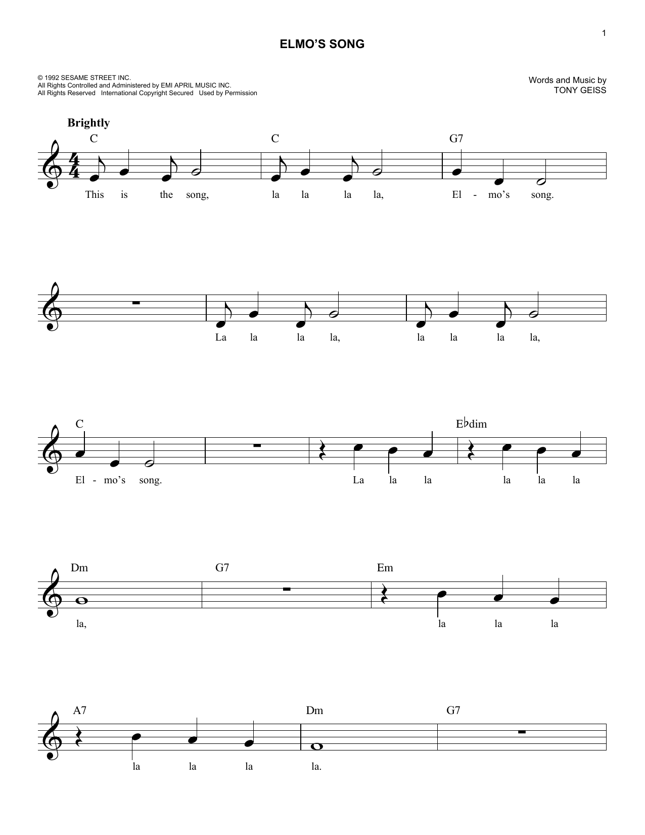 Elmo's Song Sheet Music