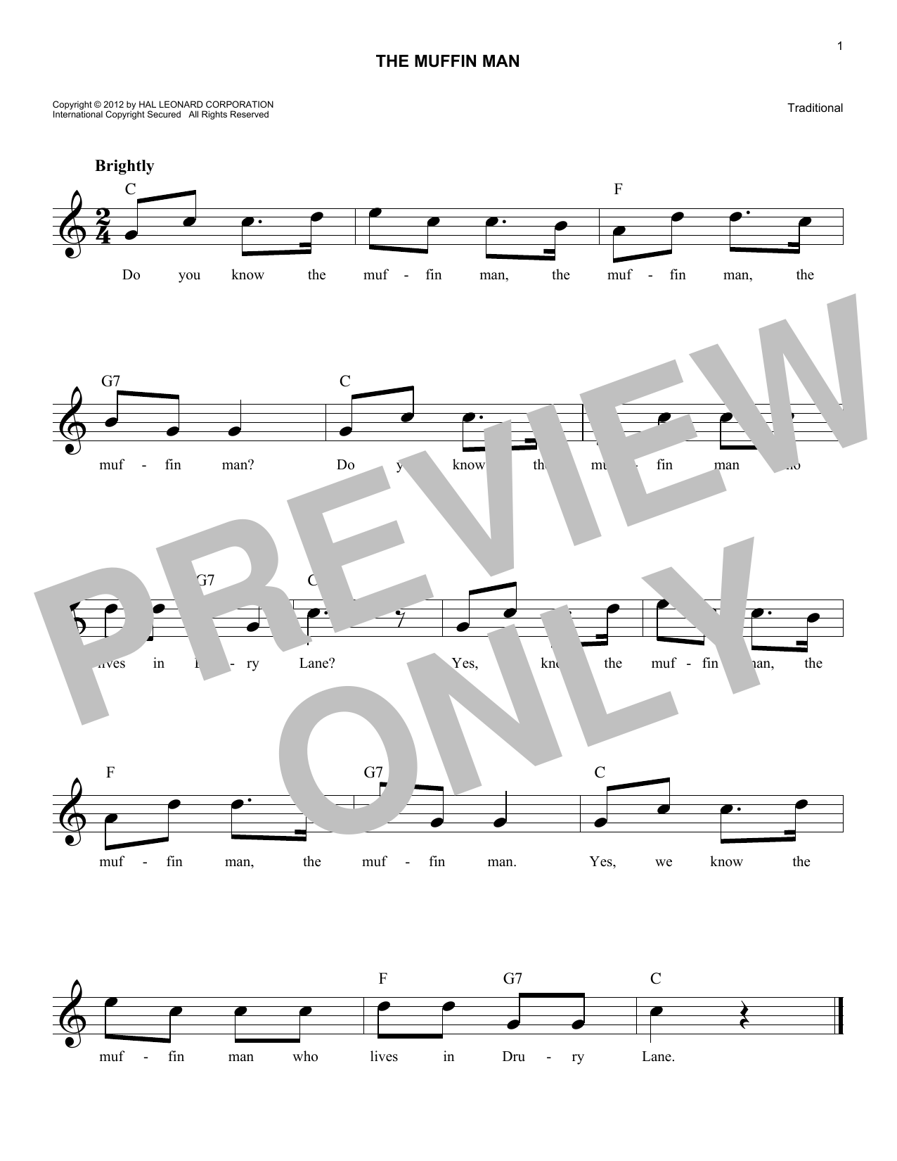 The Muffin Man Sheet Music