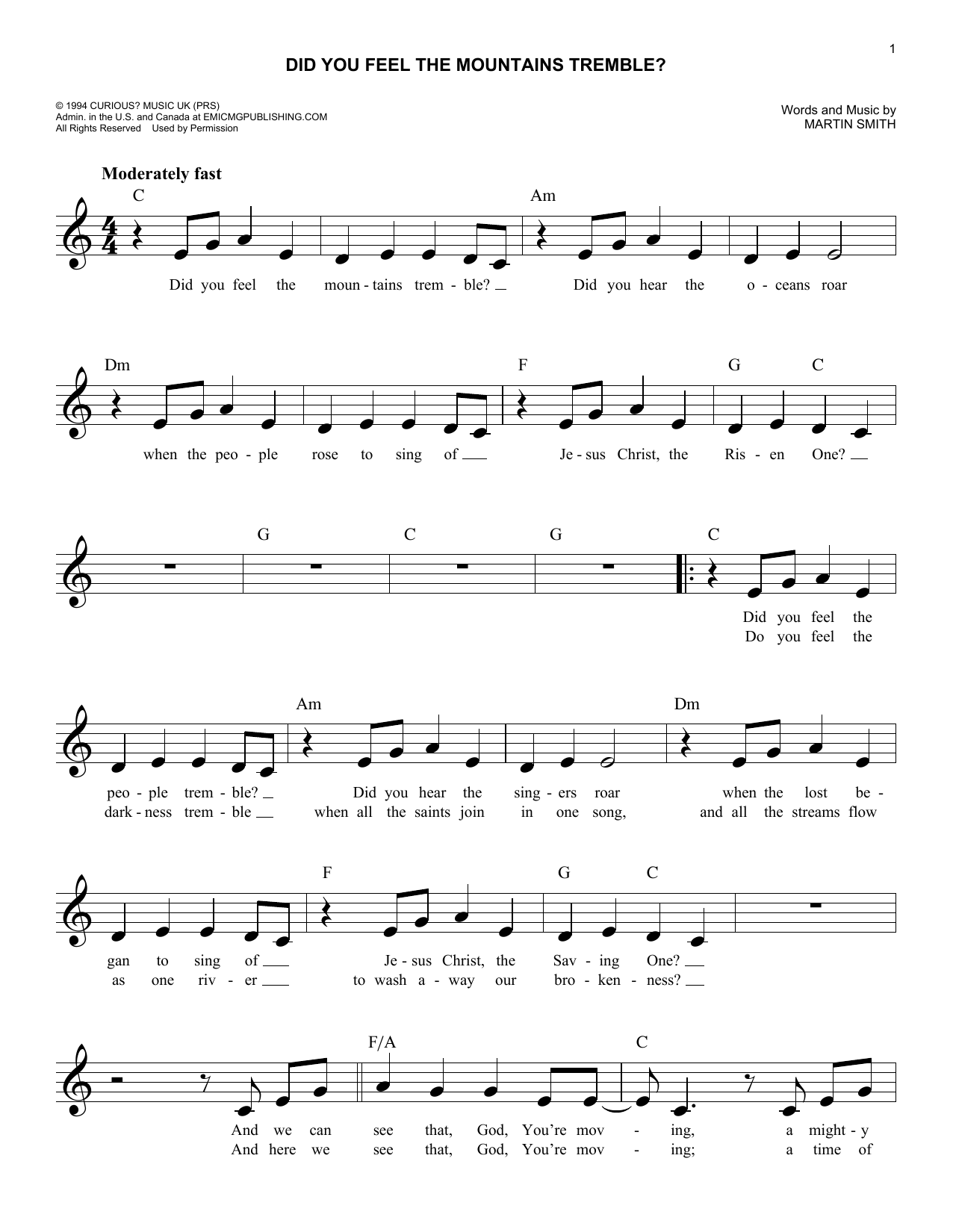Did You Feel The Mountains Tremble? (Lead Sheet / Fake Book)