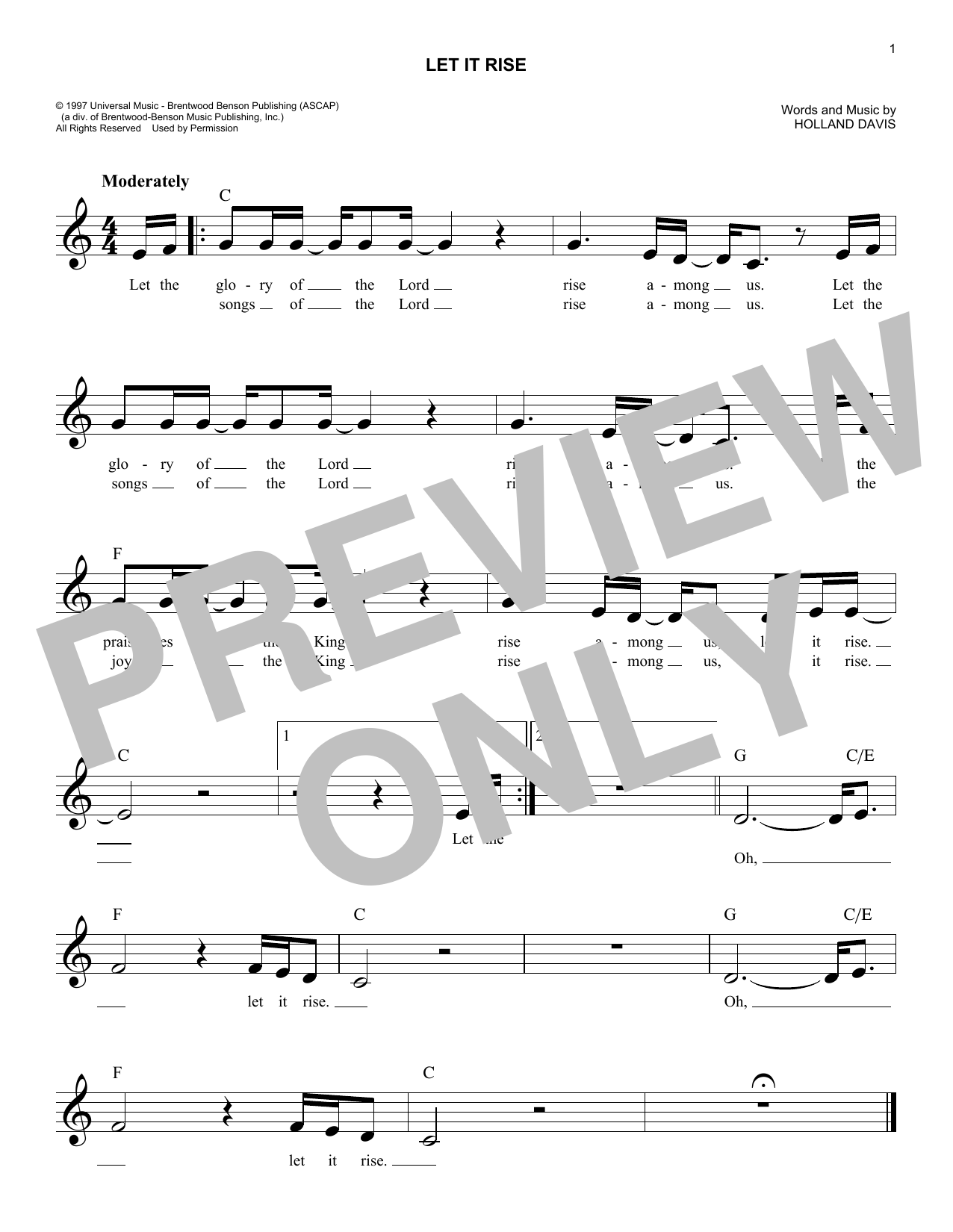 Let It Rise (Melody Line, Lyrics & Chords)