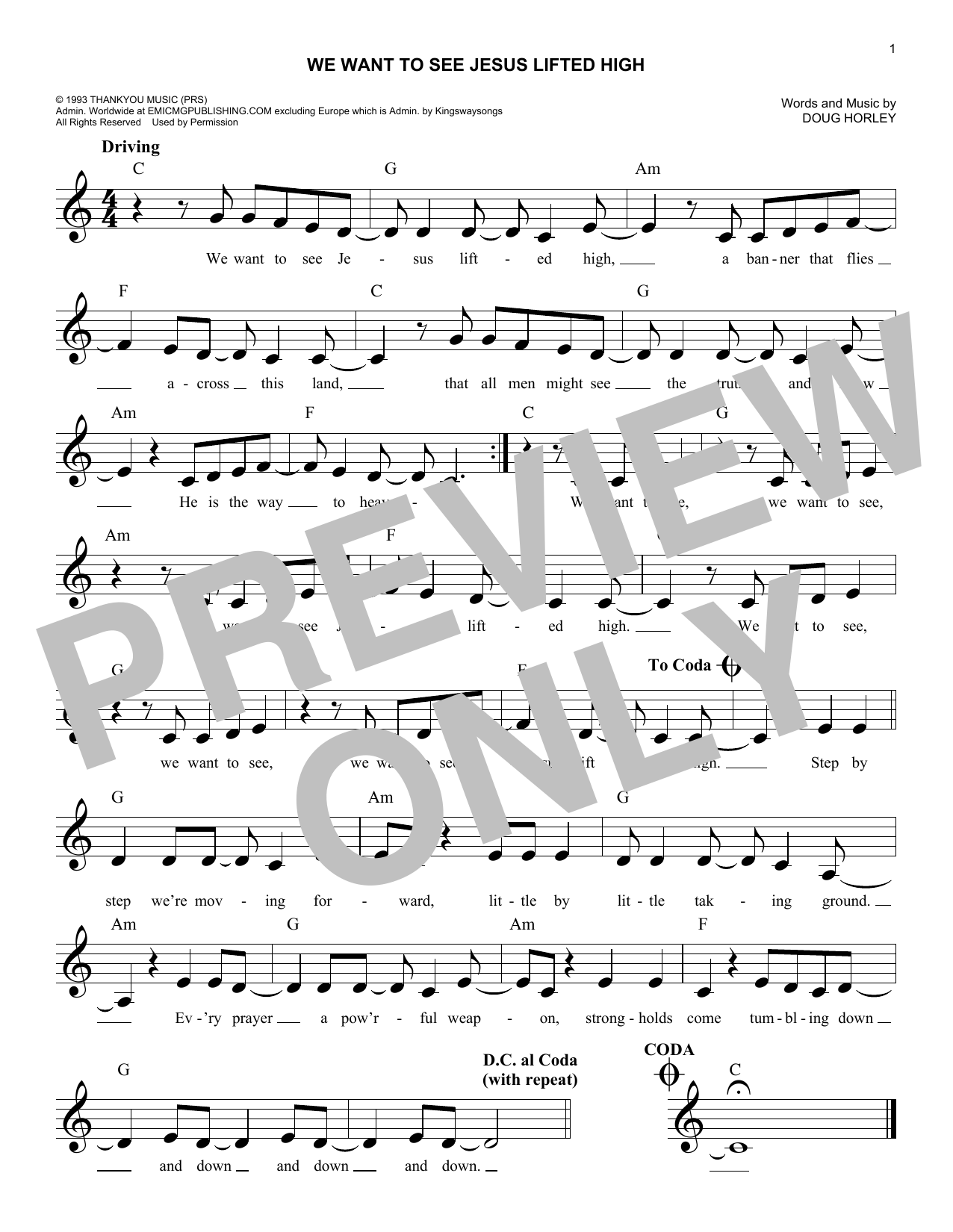 We Want To See Jesus Lifted High (Lead Sheet / Fake Book)