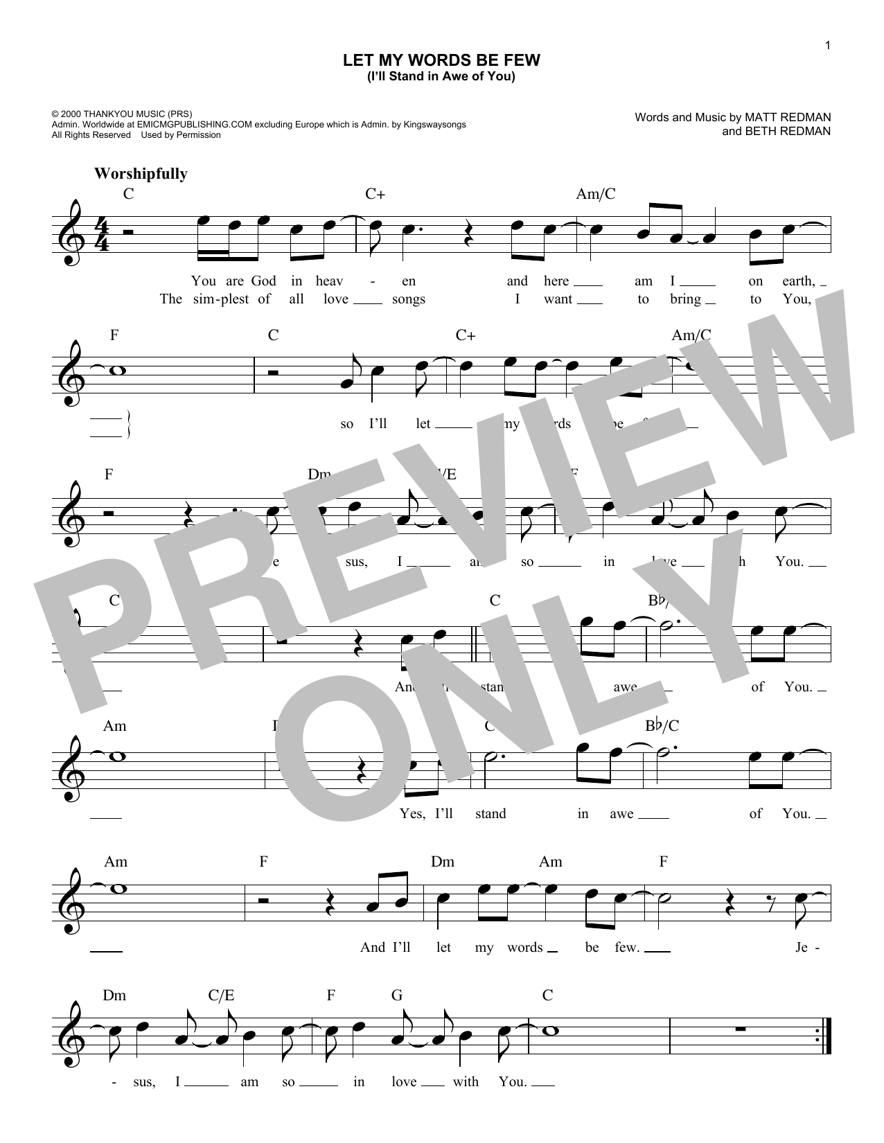Let My Words Be Few (You Are God In Heaven) Sheet Music