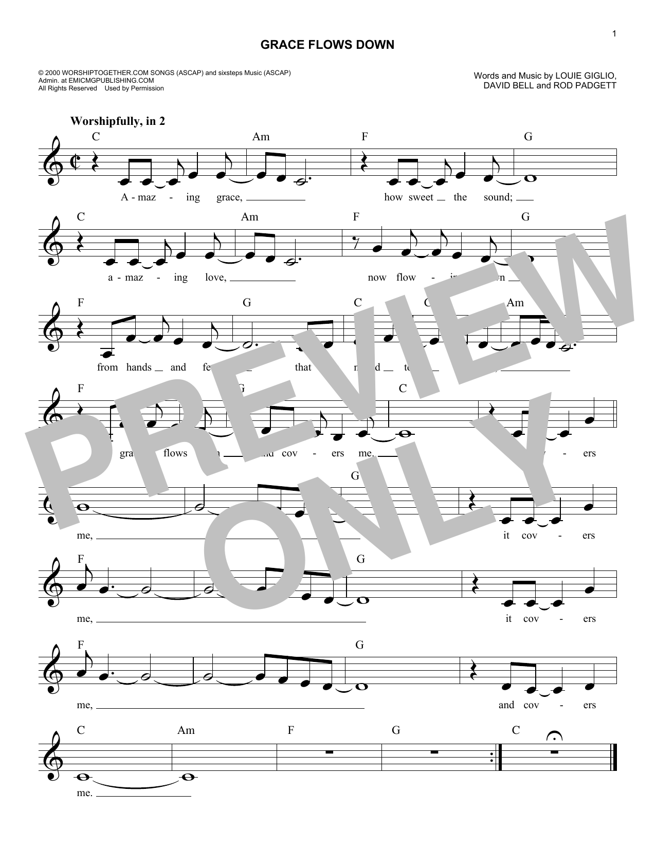 Grace Flows Down (Lead Sheet / Fake Book)