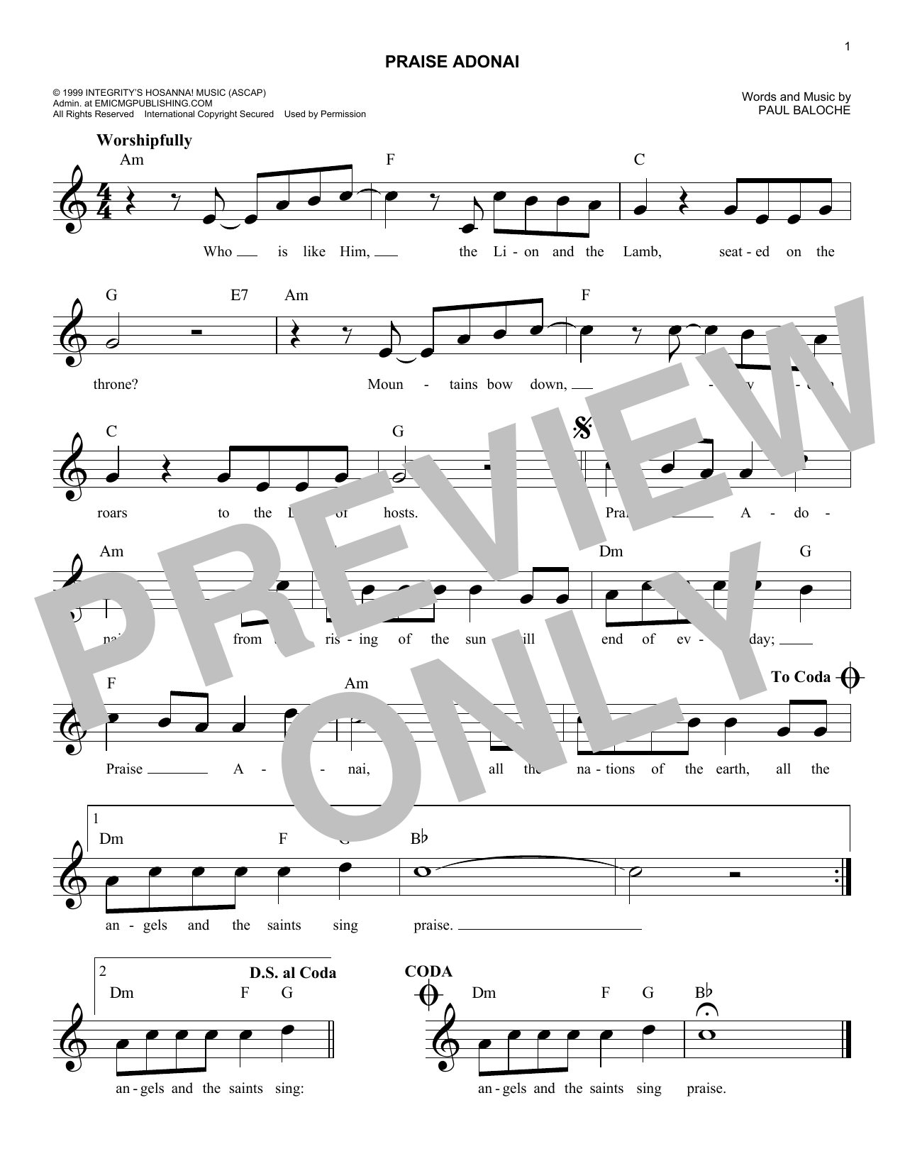 Praise Adonai (Lead Sheet / Fake Book)