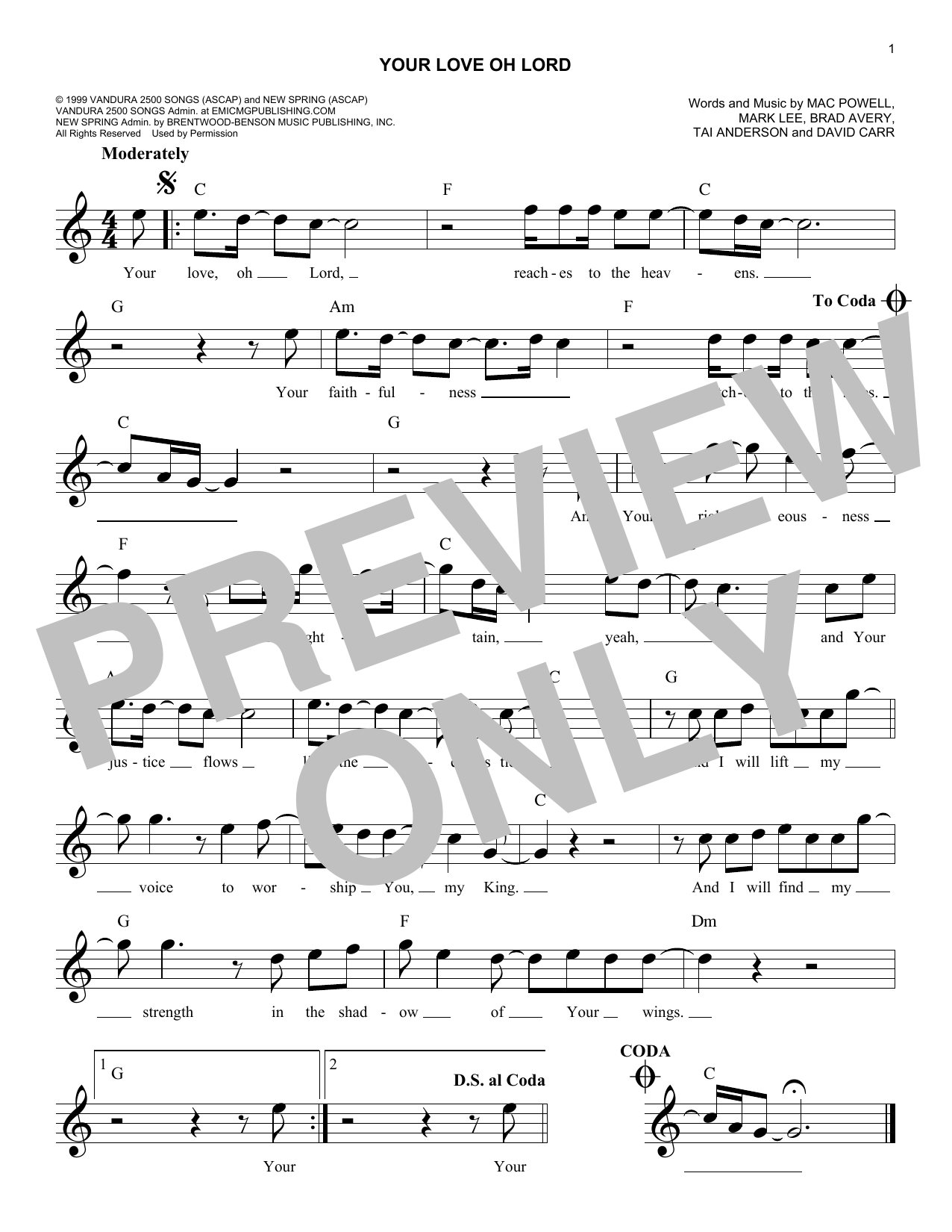 Your Love Oh Lord (Lead Sheet / Fake Book)