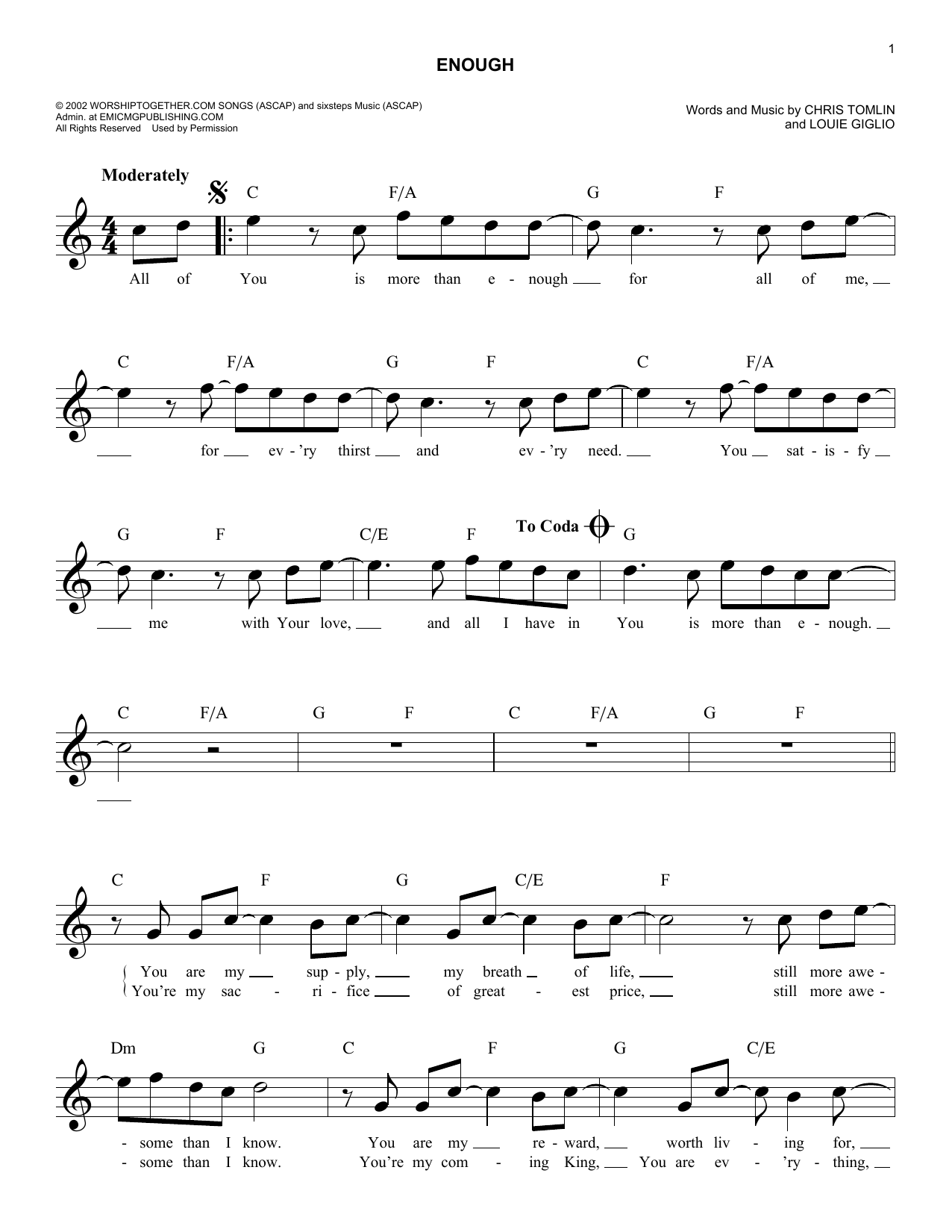 Enough (Lead Sheet / Fake Book)