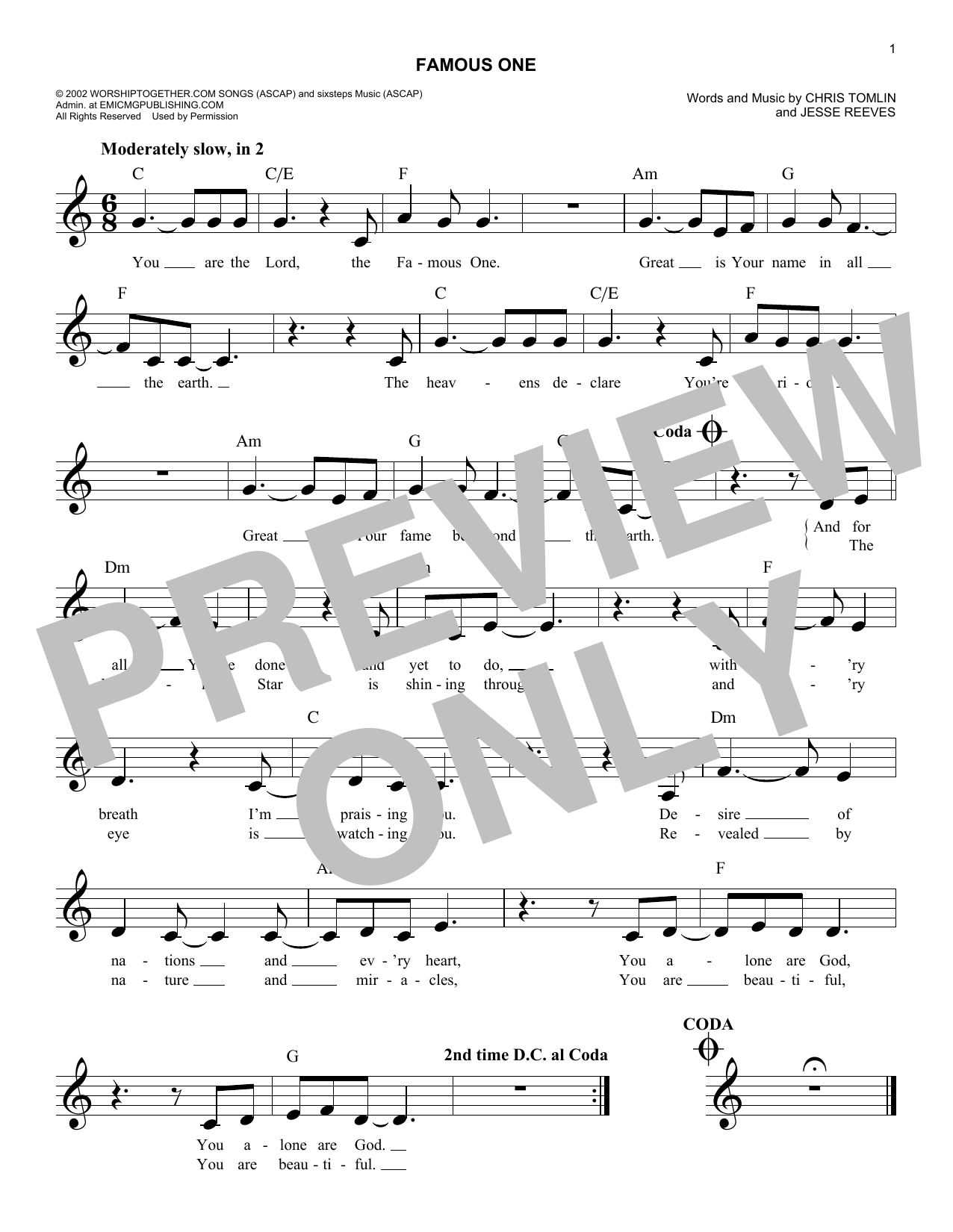 Famous One (Lead Sheet / Fake Book)