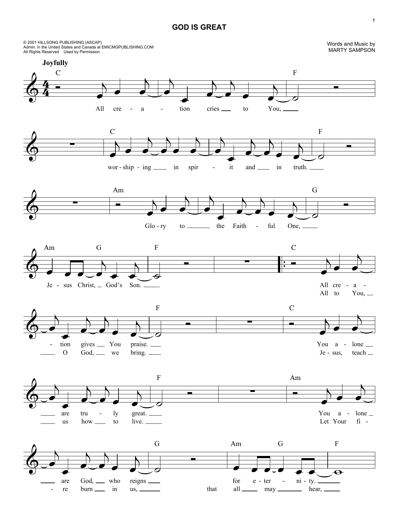 God Is Great (Lead Sheet / Fake Book)