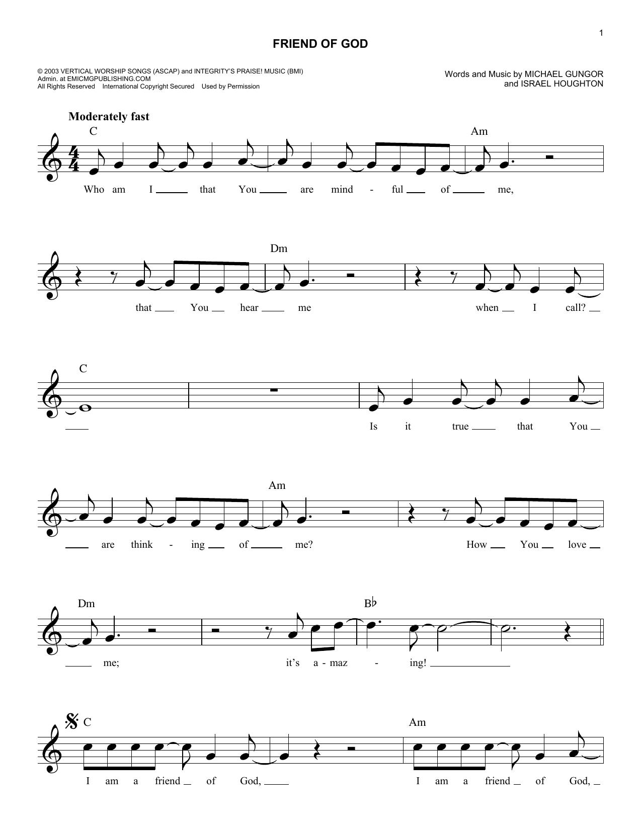 Friend Of God Sheet Music