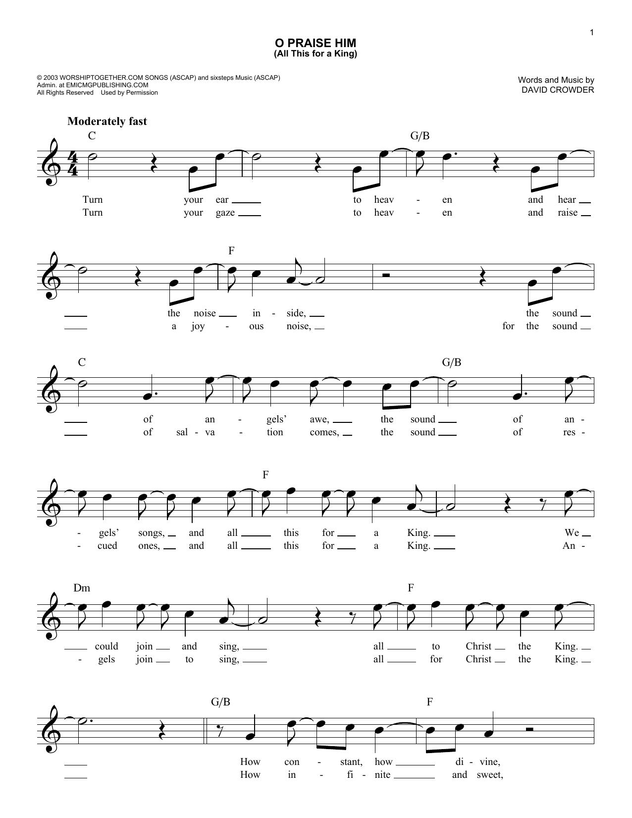 O Praise Him (All This For A King) (Lead Sheet / Fake Book)