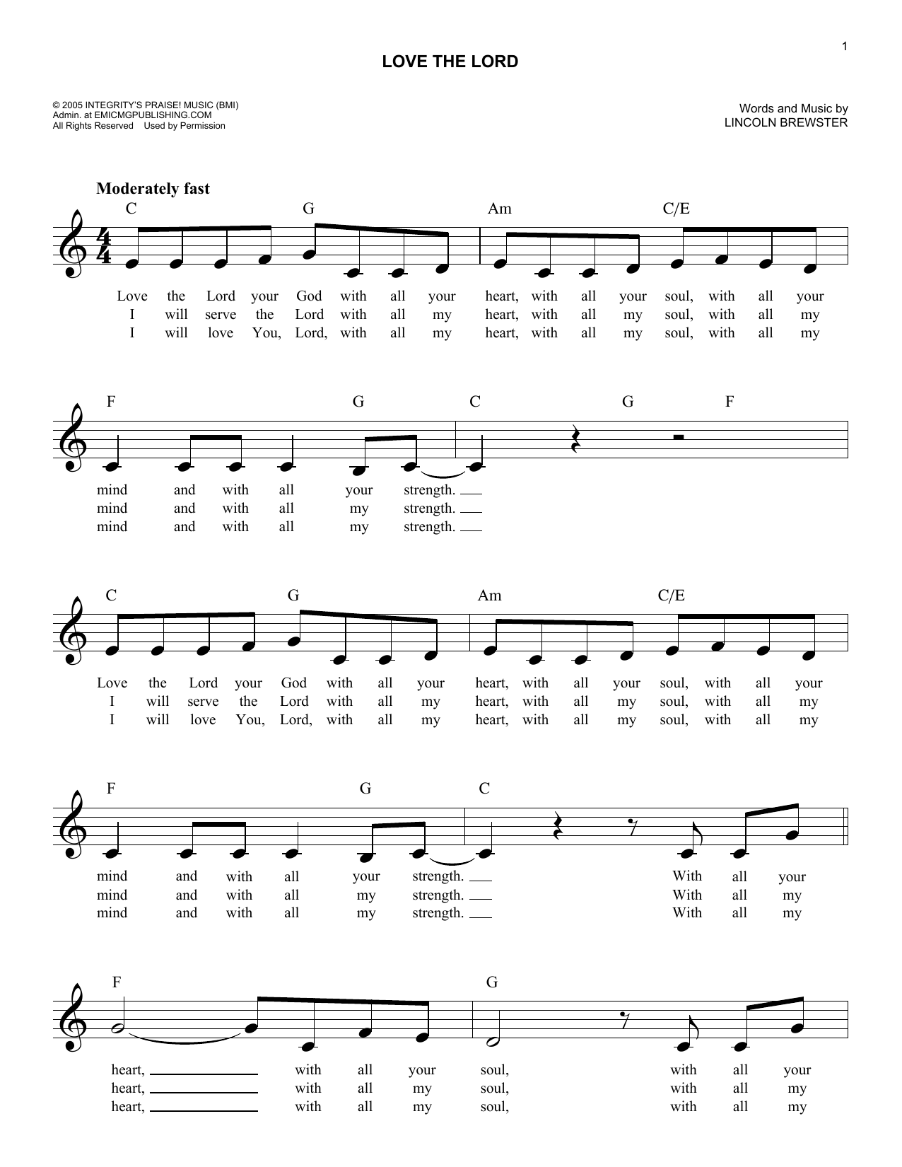 Love The Lord (Lead Sheet / Fake Book)