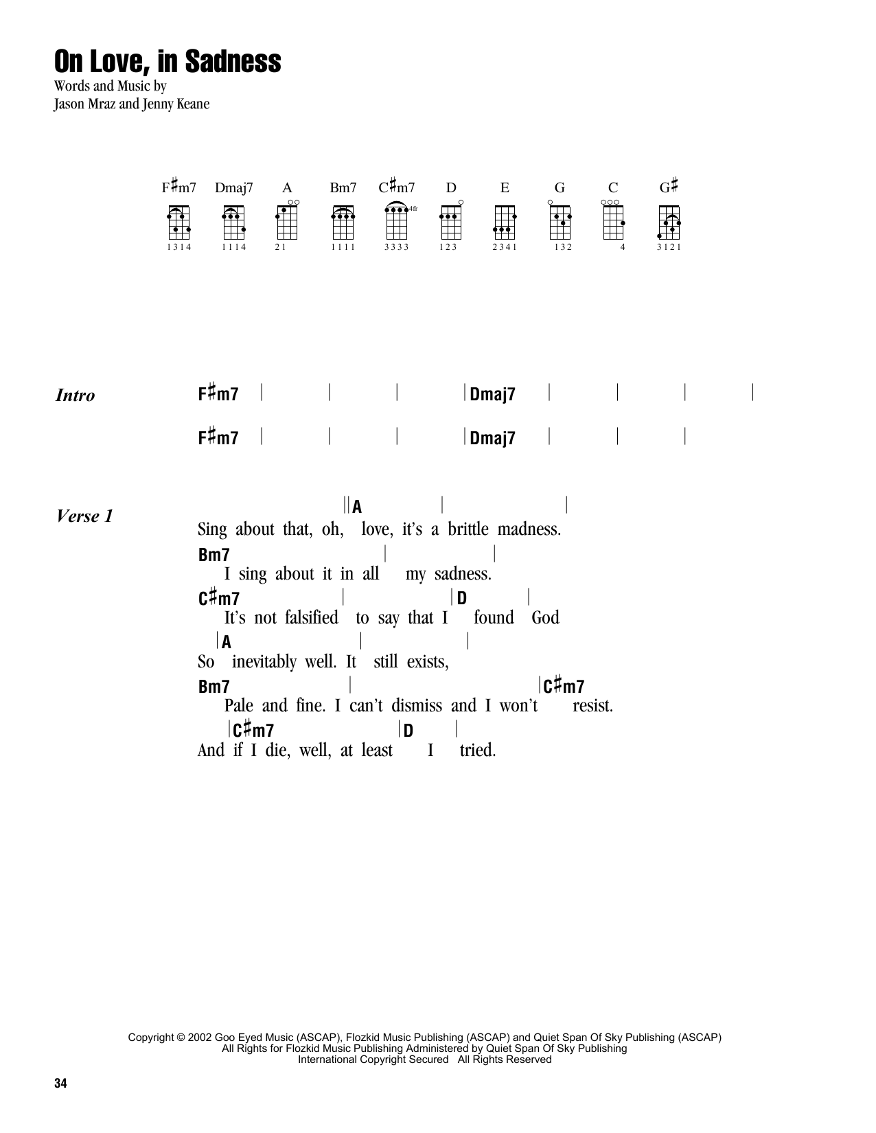 Tablature guitare On Love, In Sadness de Jason Mraz - Ukulele (strumming patterns)