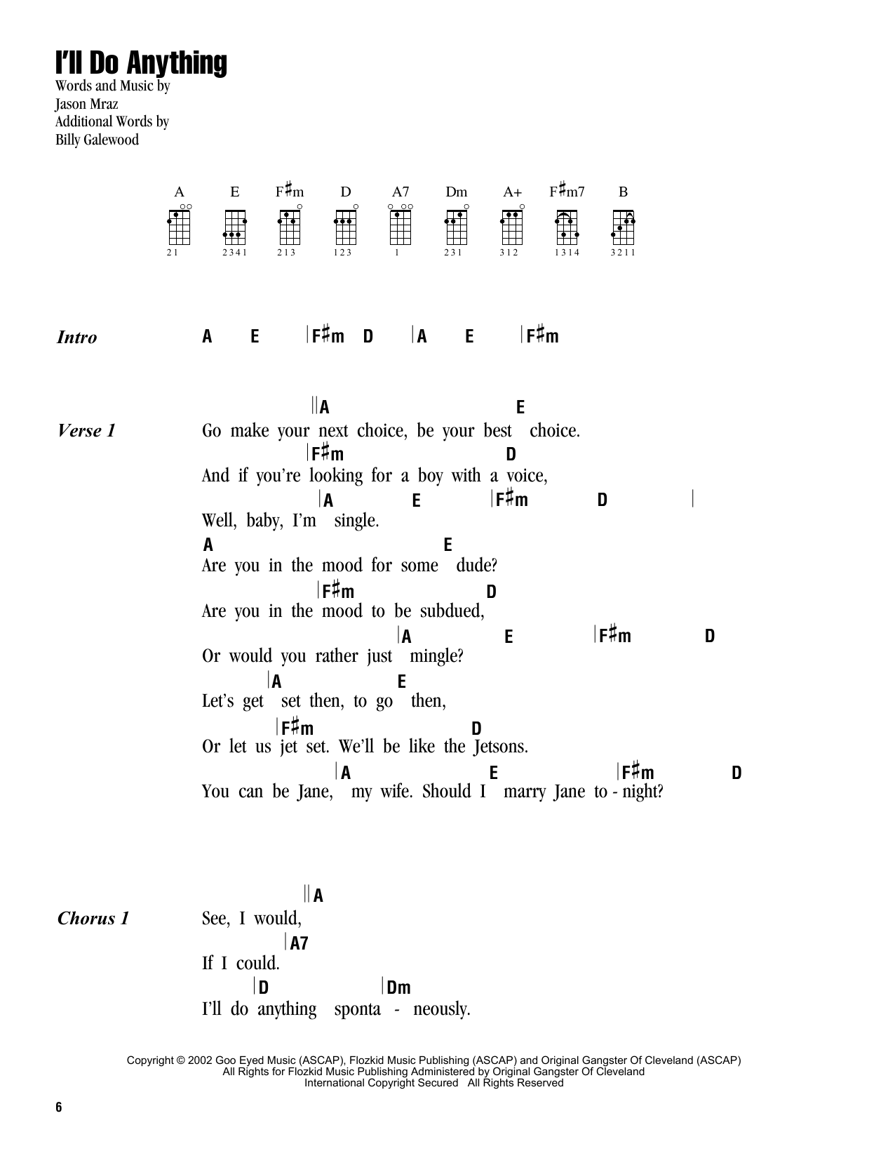 Tablature guitare I'll Do Anything de Jason Mraz - Ukulele (strumming patterns)